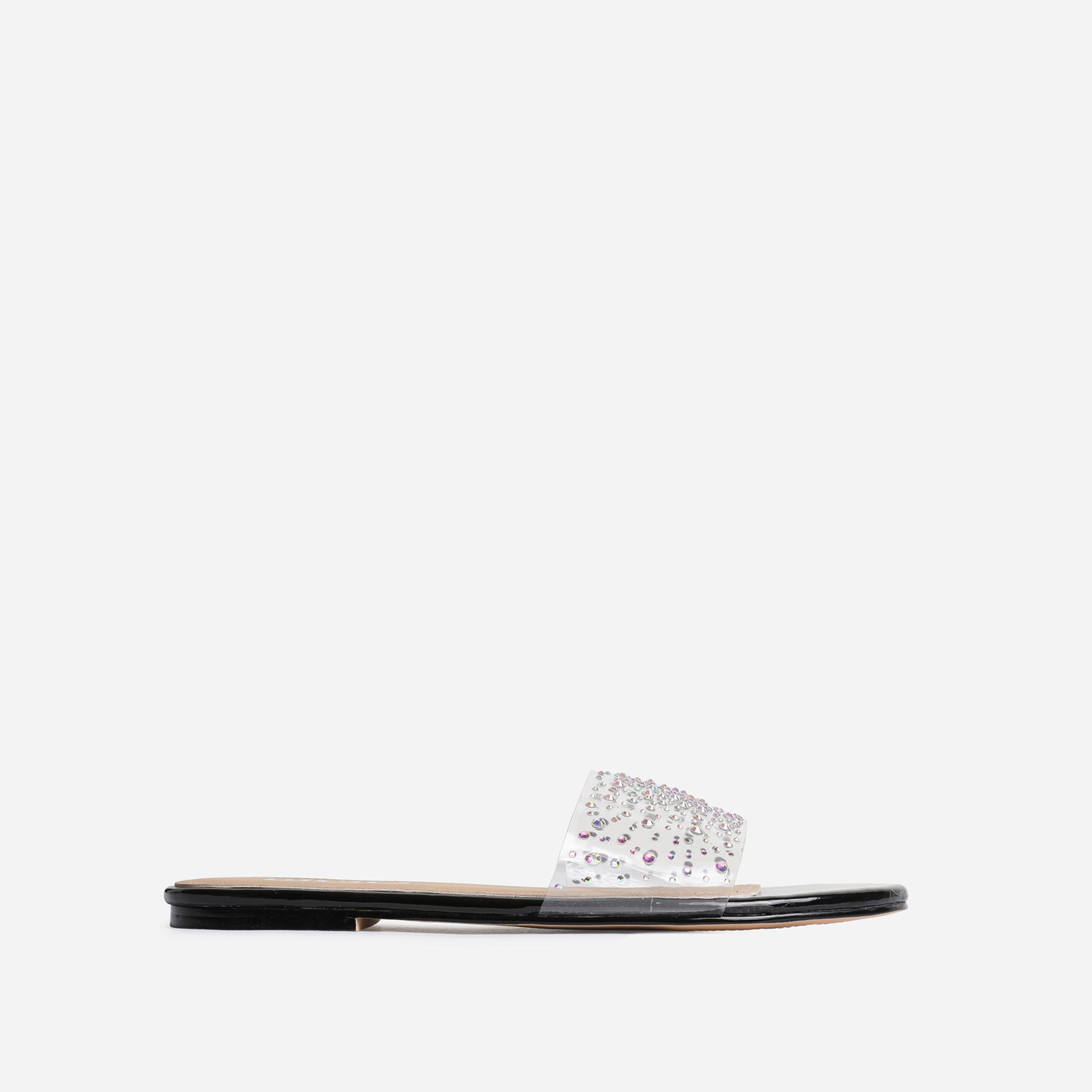 Stunning Diamante Detail Perspex Flat Sandal In Black Patent