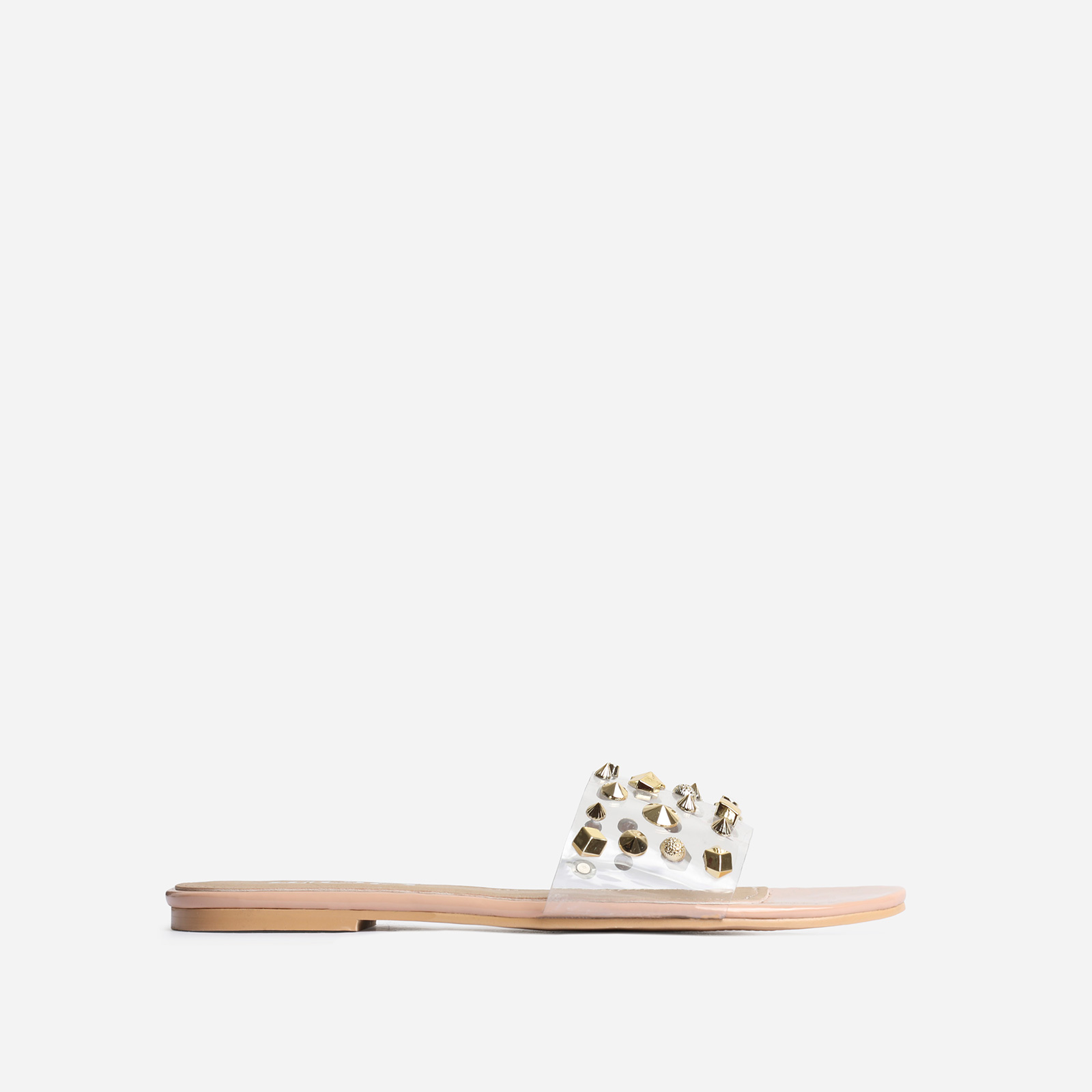 Motion Studded Detail Perspex Flat Sandal In Nude Patent
