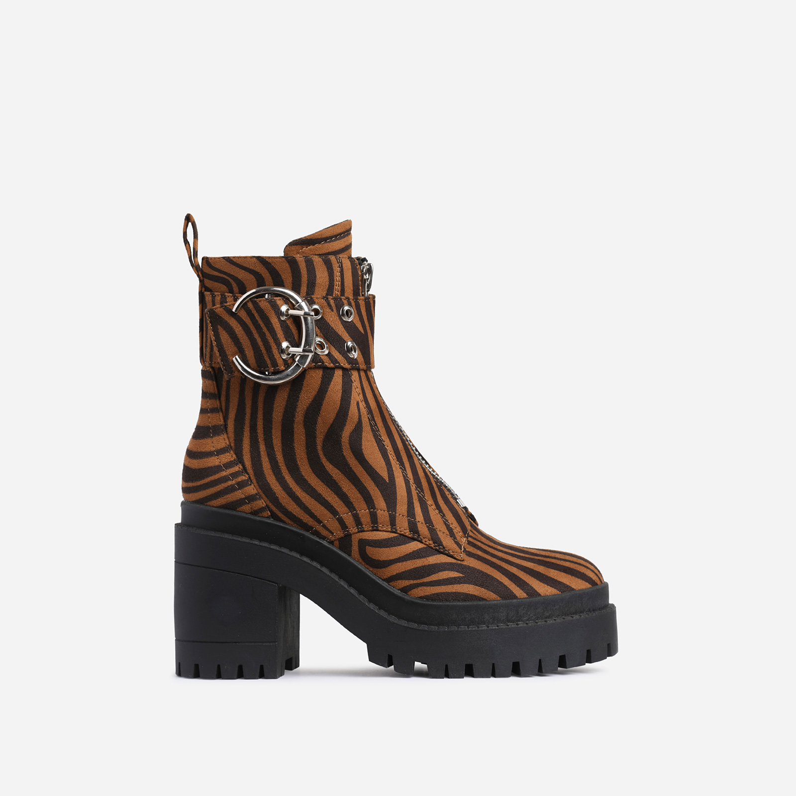 Playhouse Buckle Zip Detail Block Heel Ankle Biker Boot In Tiger Print Faux Suede