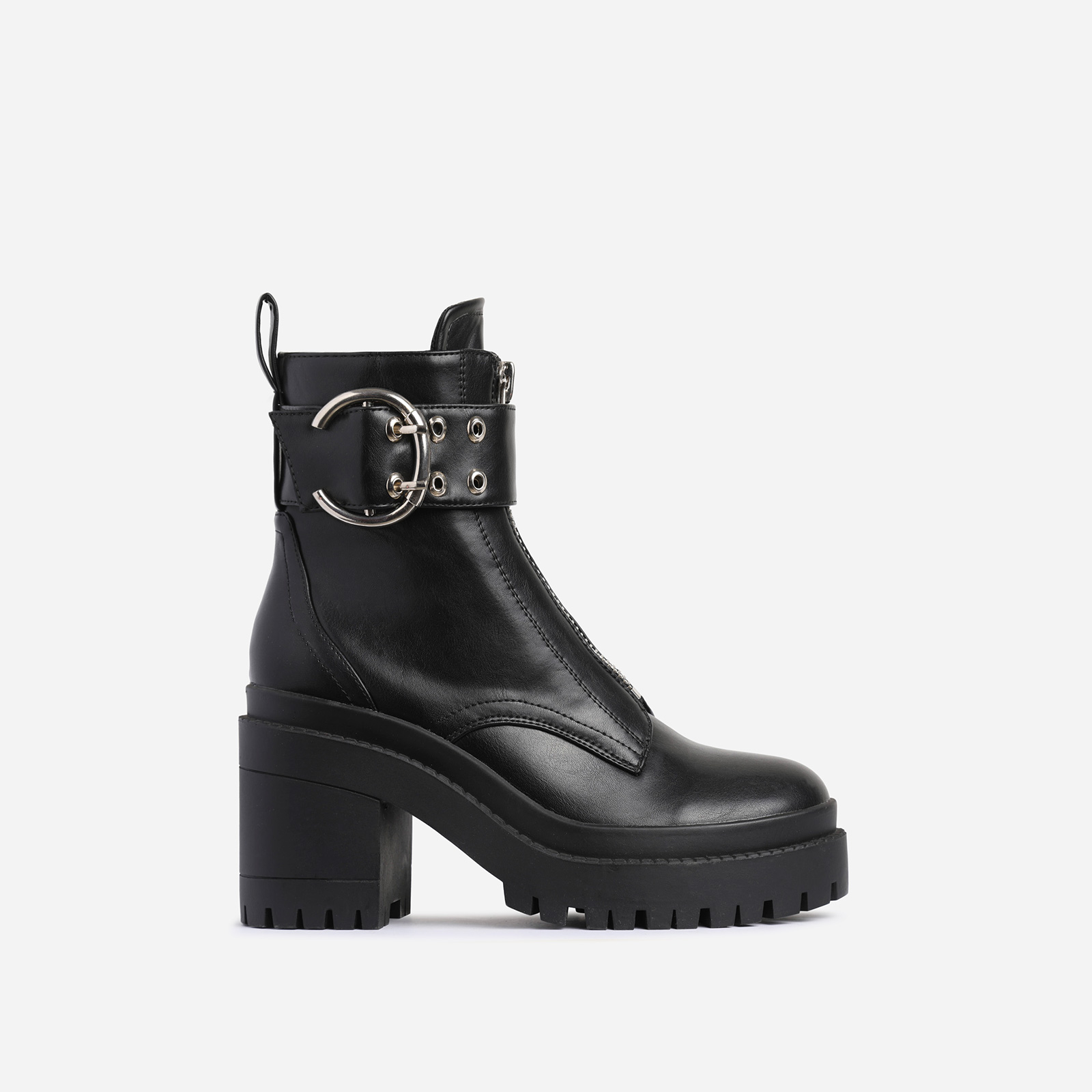 Playhouse Buckle Zip Detail Block Heel Ankle Biker Boot In Black Faux Leather
