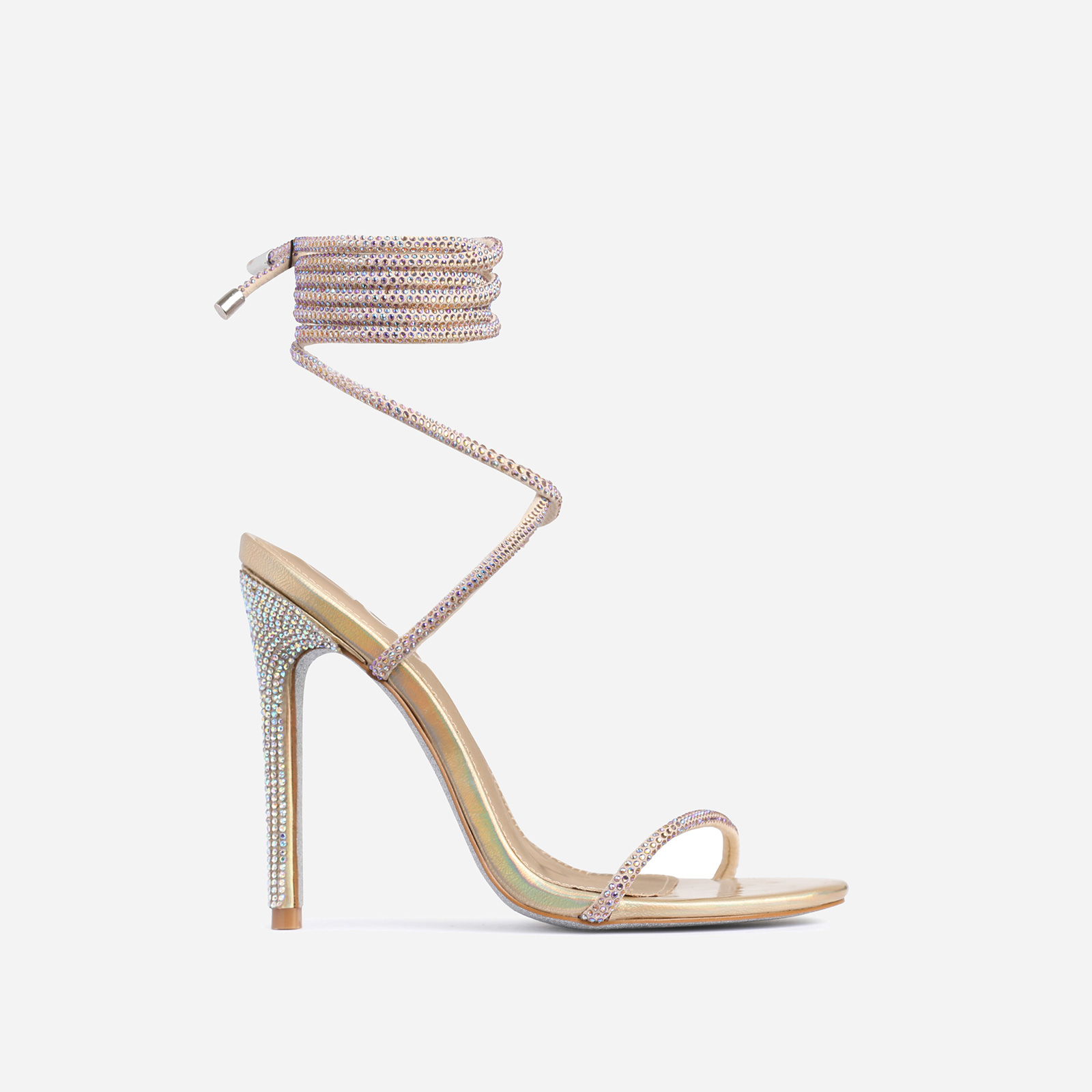 Carmella Glitter Sole Diamante Detail Lace Up Heel In Gold Faux Leather