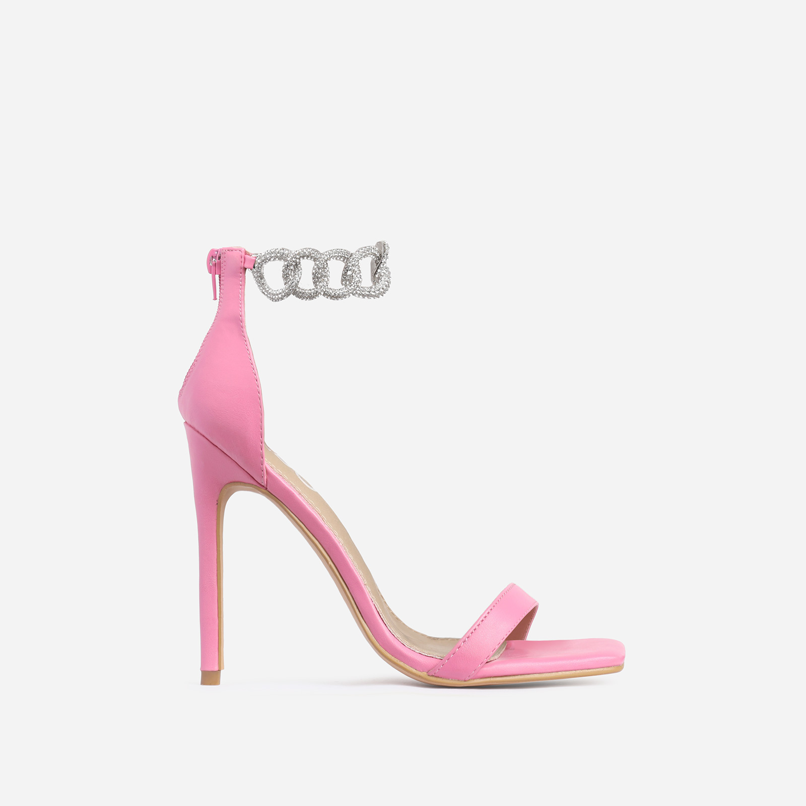 Barbie Diamante Chain Detail Square Toe Heel In Pink Faux Leather