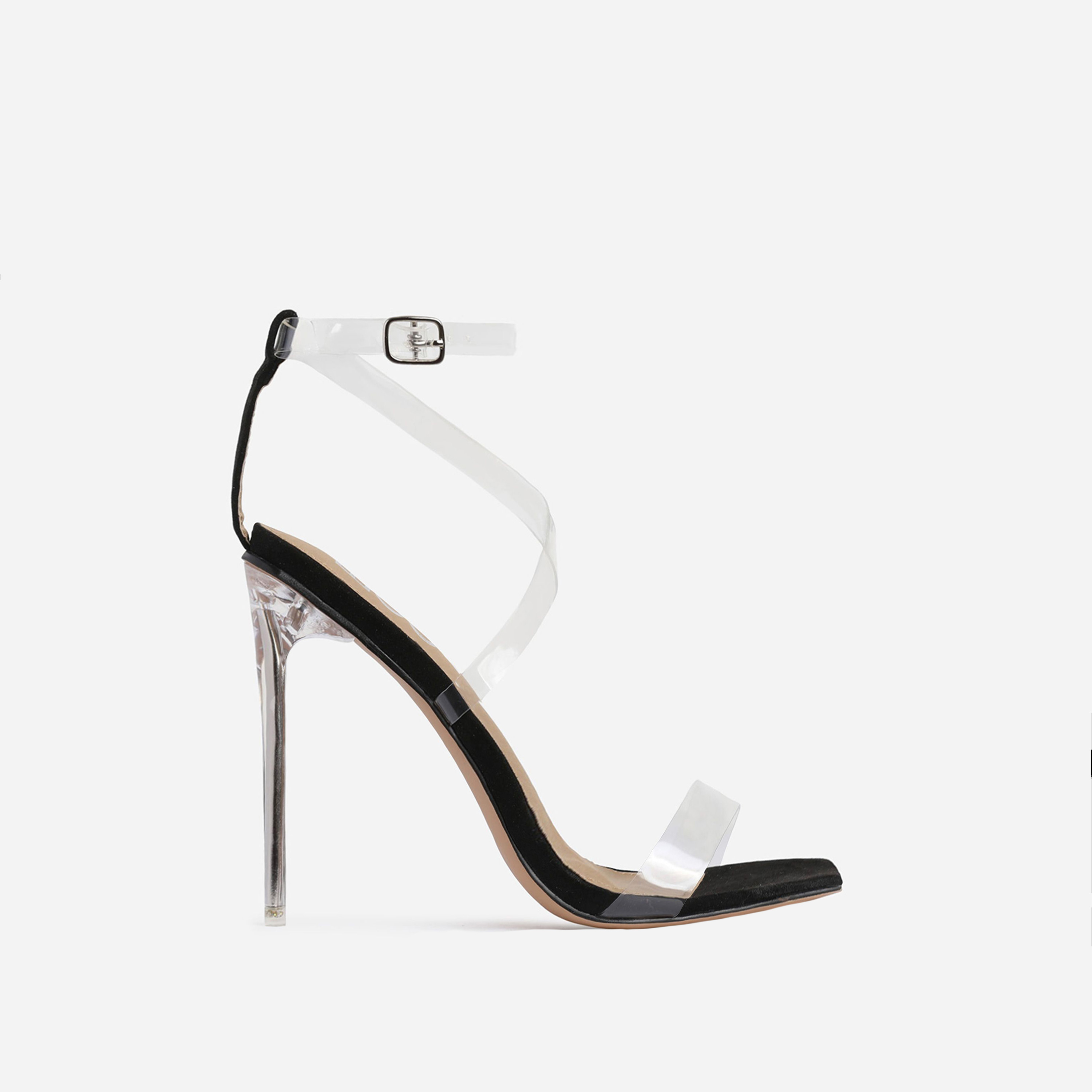 Lance Square Toe Barely There Perspex Heel In Black Faux Suede