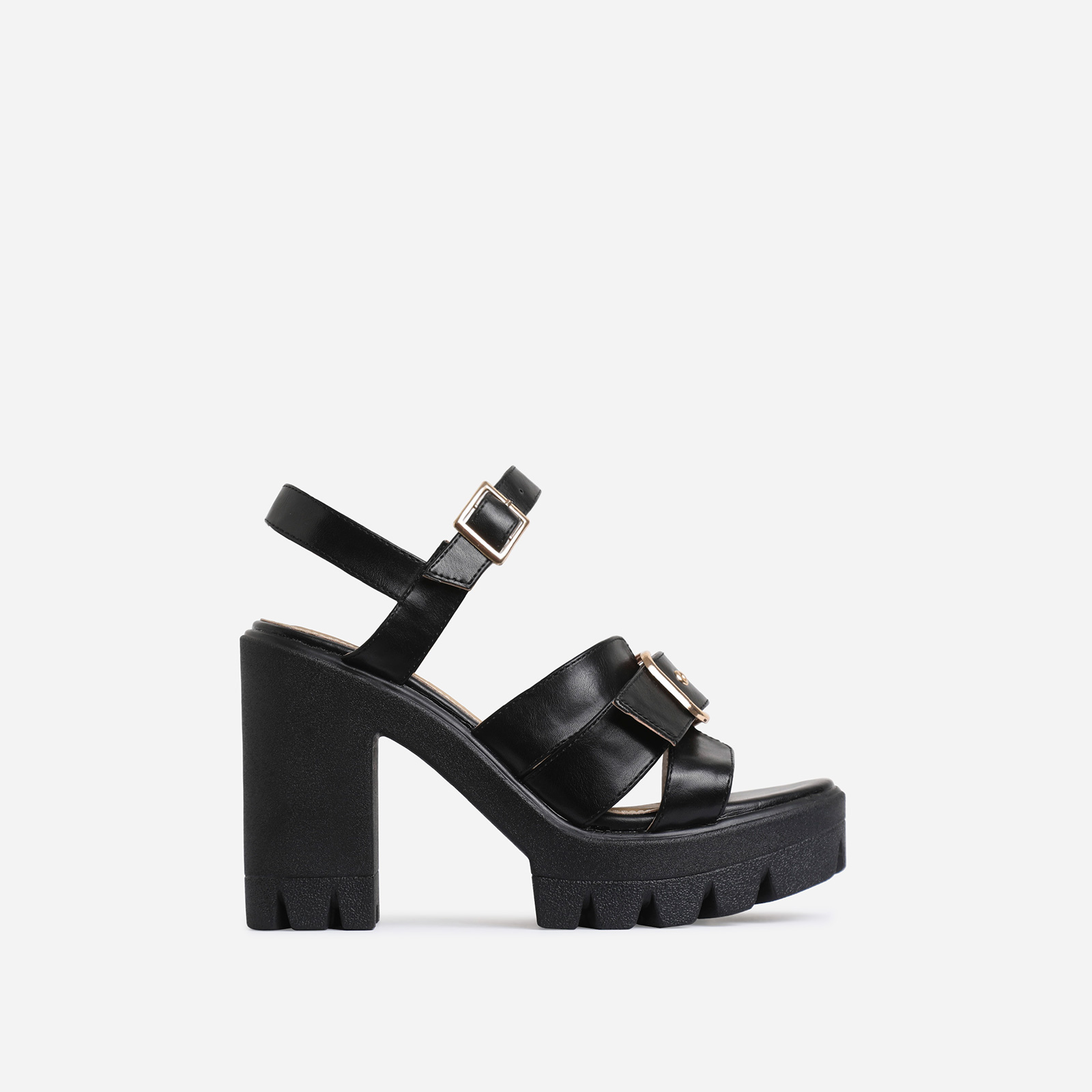 Neighbor Buckle Detail Chunky Sole Heel In Black Faux Leather