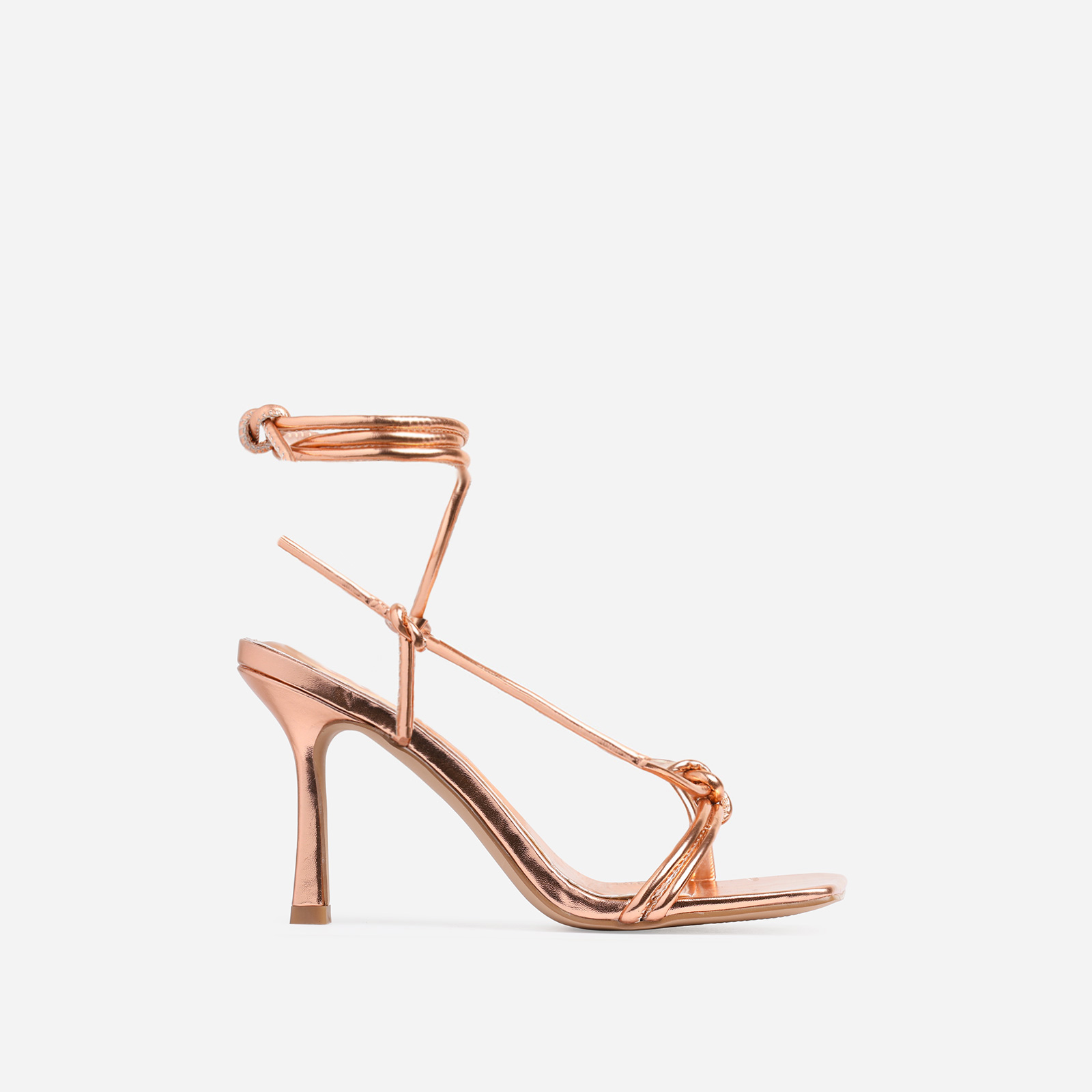 Priya Square Toe Lace Up Heel In Bronze Faux Leather