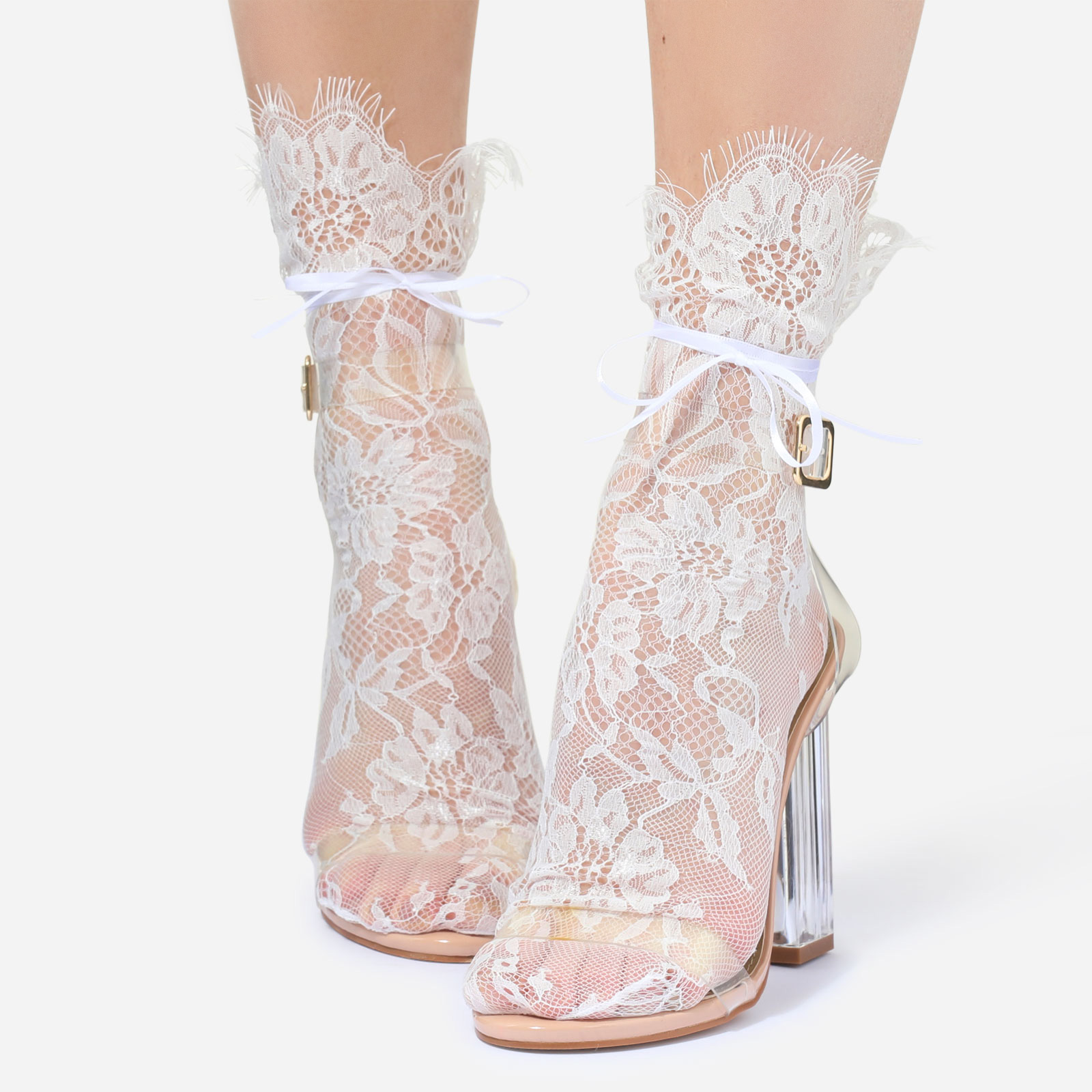 Floral Print Socks In White Lace