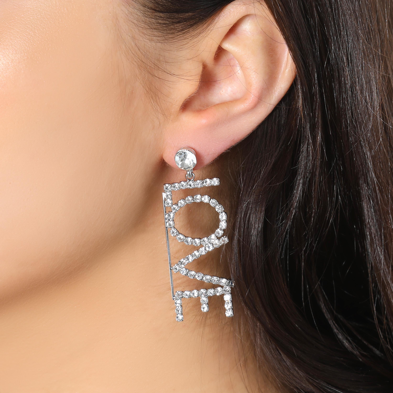 Love Slogan Diamante Drop Earrings In Silver
