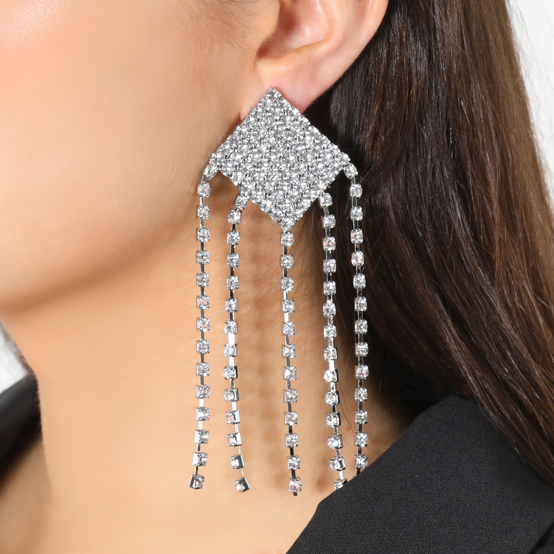 Square Stud Diamante Drop Earrings In Silver
