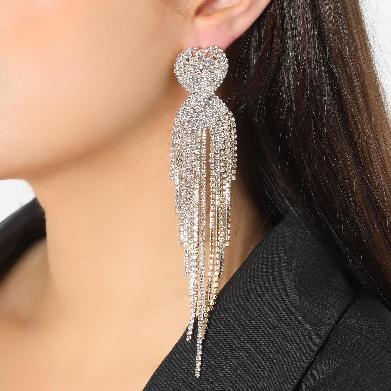 Heart Detail Diamante Drop Earrings In Gold