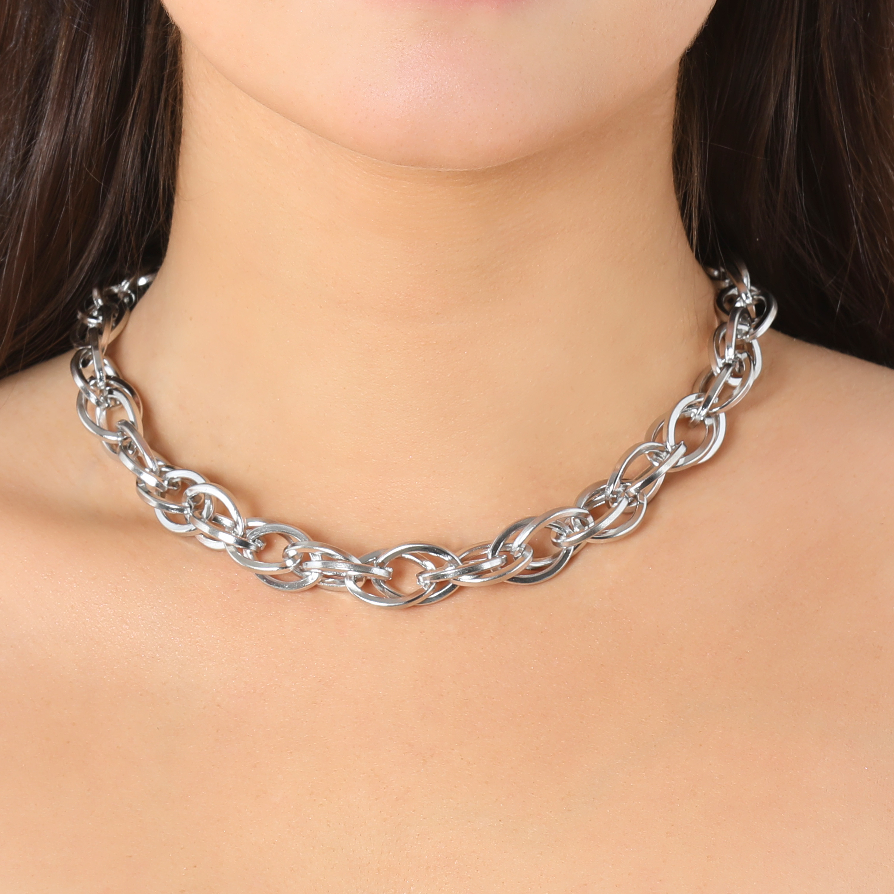 Twisted Chunky Chain Necklace In Silver
