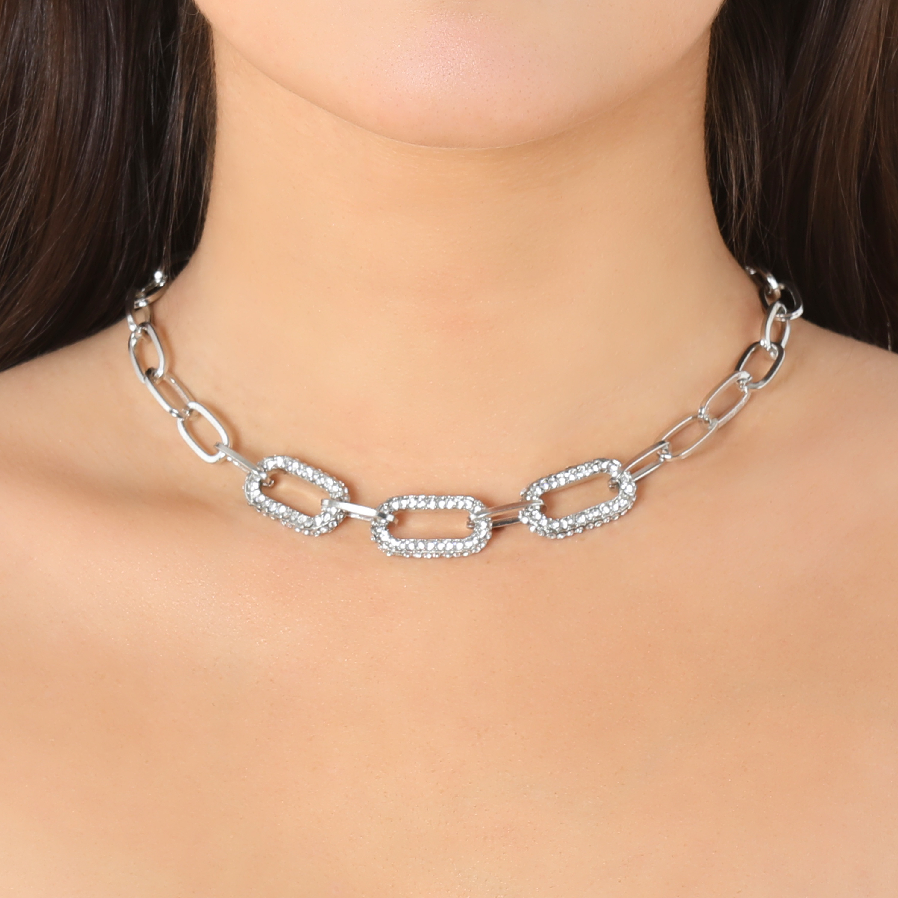 Diamante Detail Chunky Chain Necklace In Silver