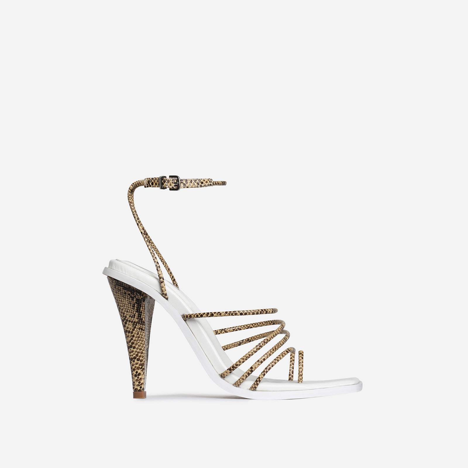 Amory Square Toe Strappy Heel In Nude Snake Print Faux Leather