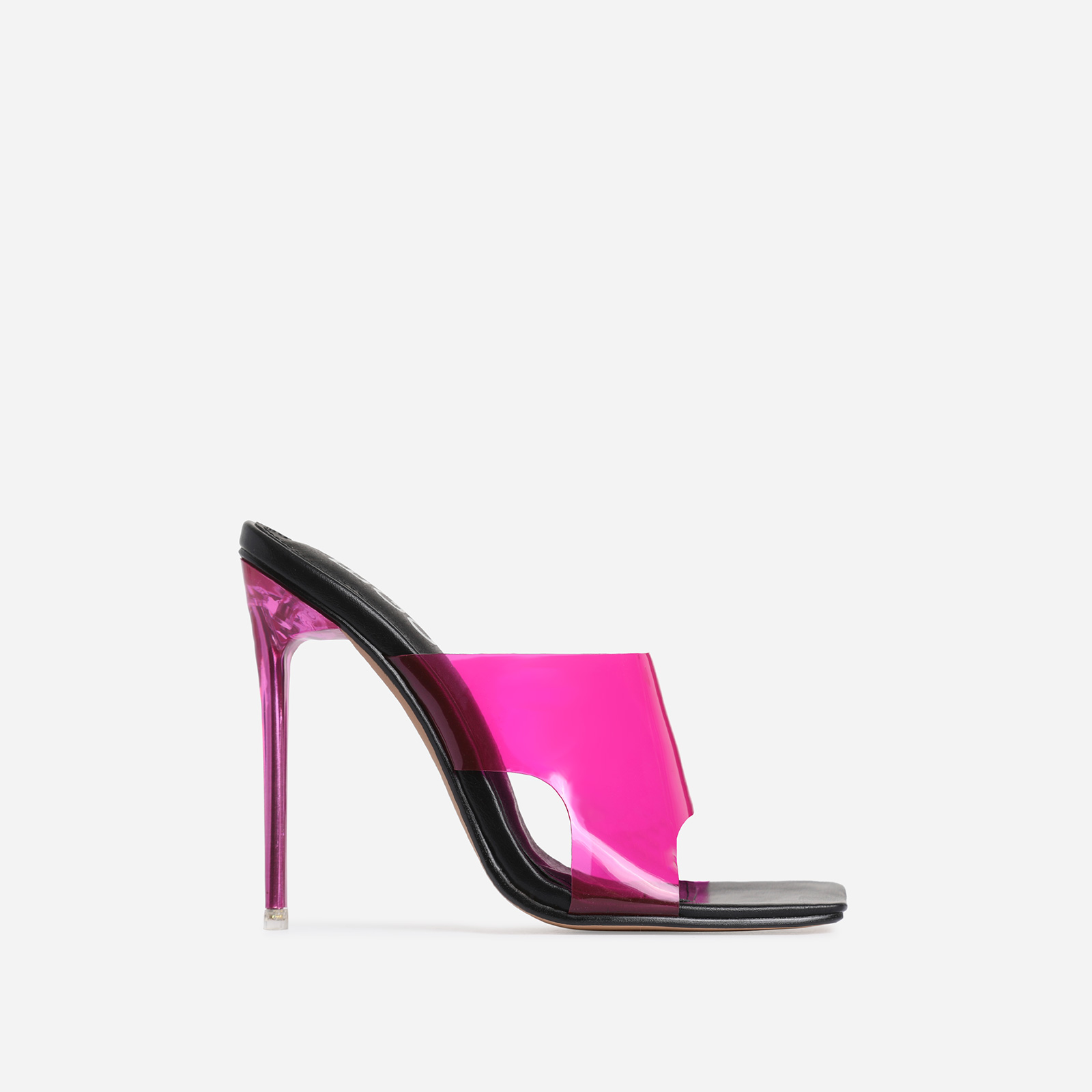 River Pink Clear Perspex Square Peep Toe Heel Mule In Black Faux Leather