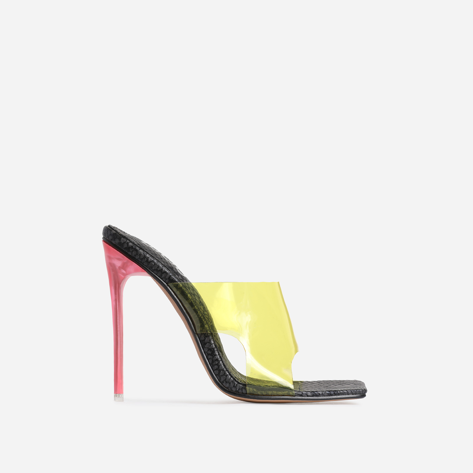 River Yellow Clear Perspex Square Peep Toe Heel Mule In Black Snake Print Faux Leather
