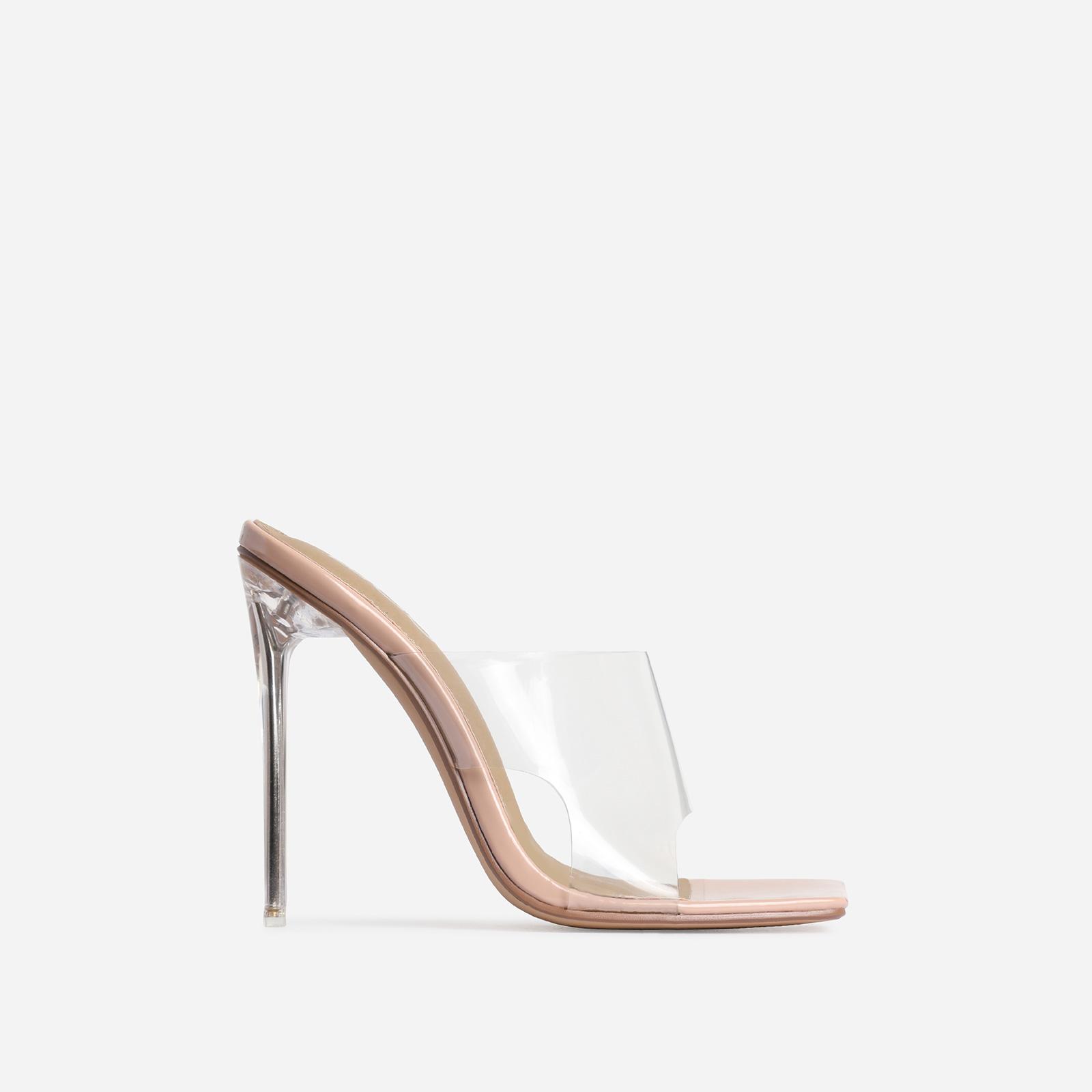 River Clear Perspex Square Peep Toe Heel Mule In Nude Patent
