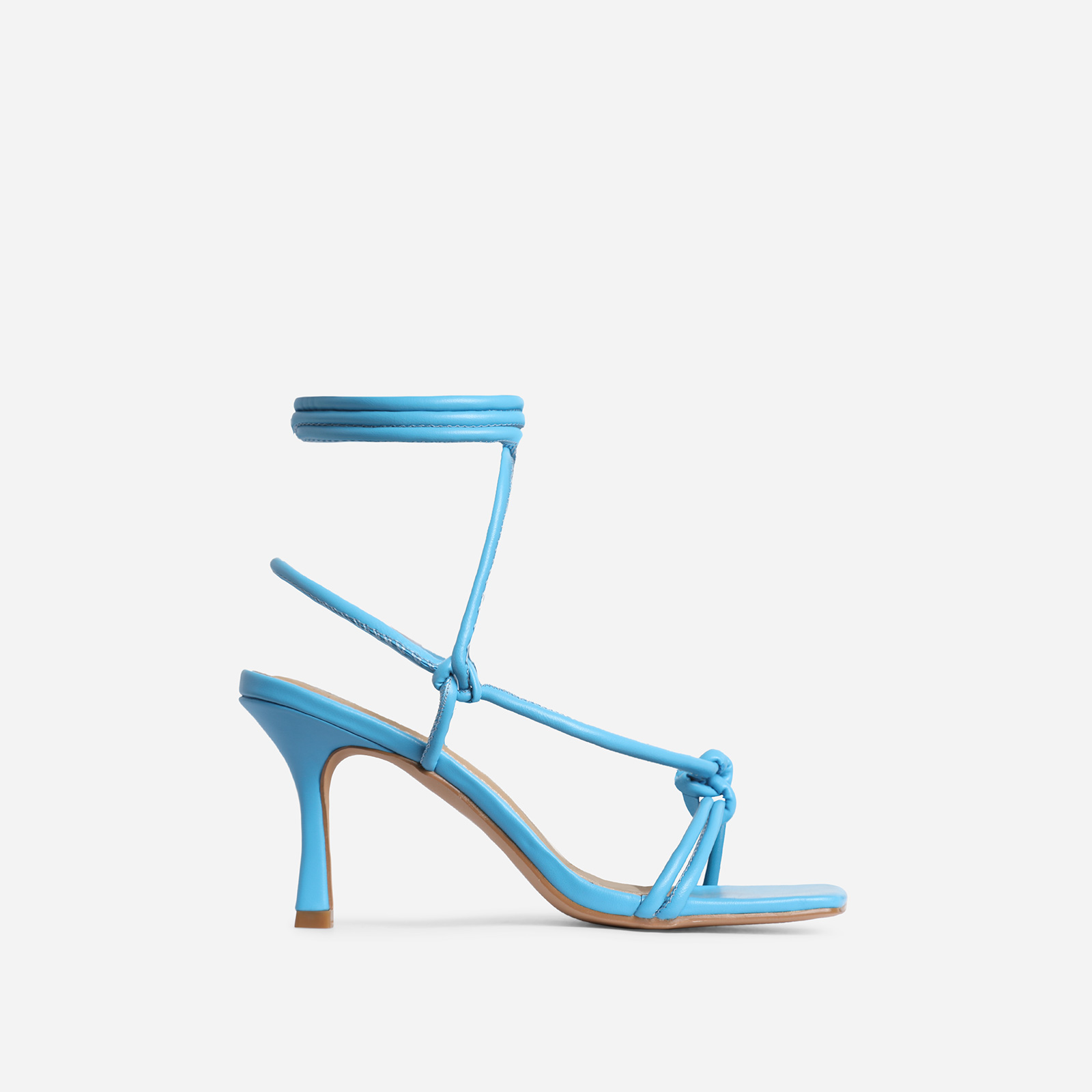 Priya Square Toe Lace Up Heel In Blue Faux Leather