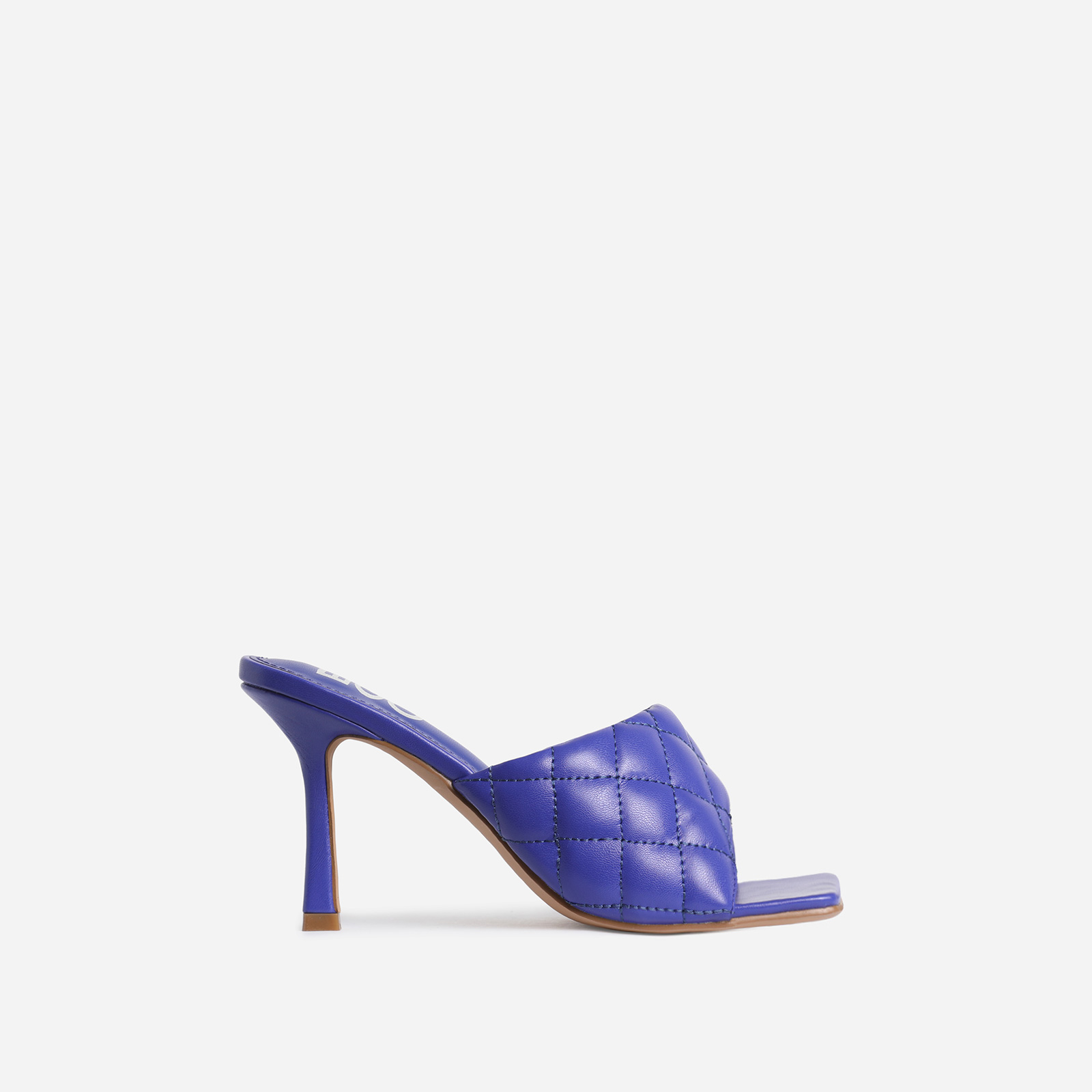 Tropez Square Toe Quilted Heel Mule In Purple Faux Leather