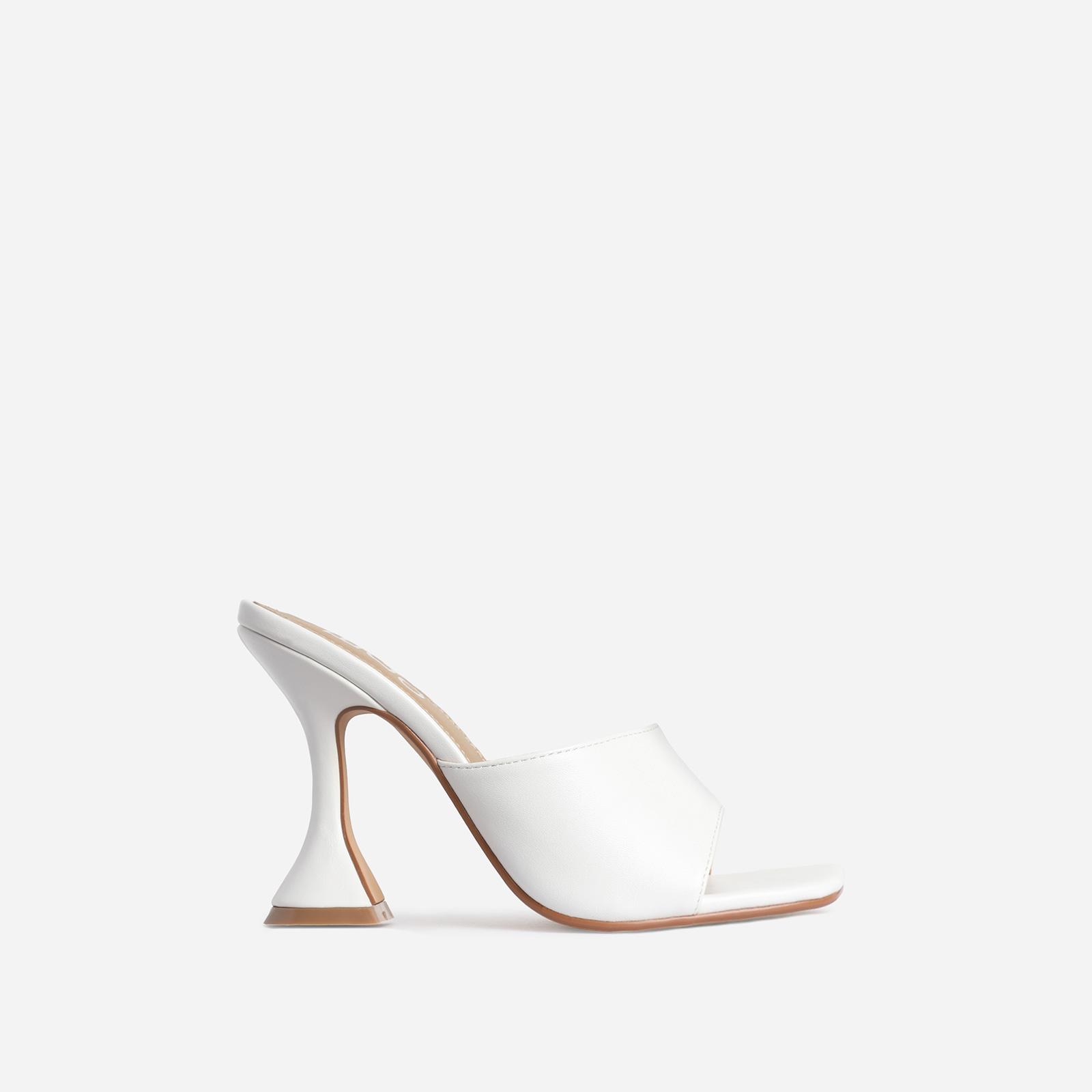 Jordi Peep Square Toe Heel Mule In White Faux Leather