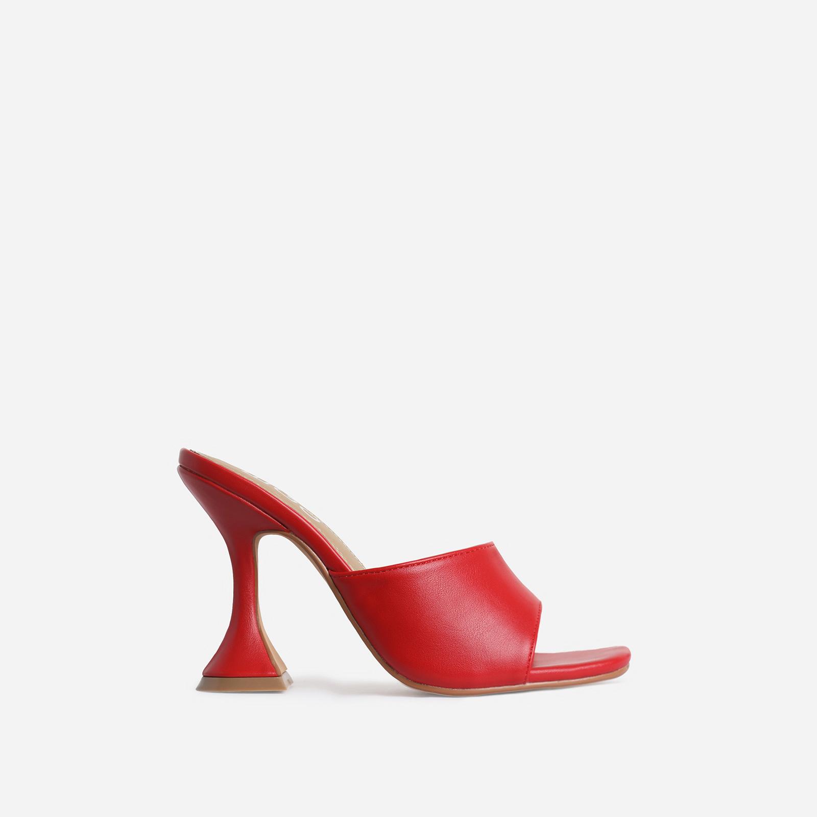 Jordi Peep Square Toe Heel Mule In Red Faux Leather