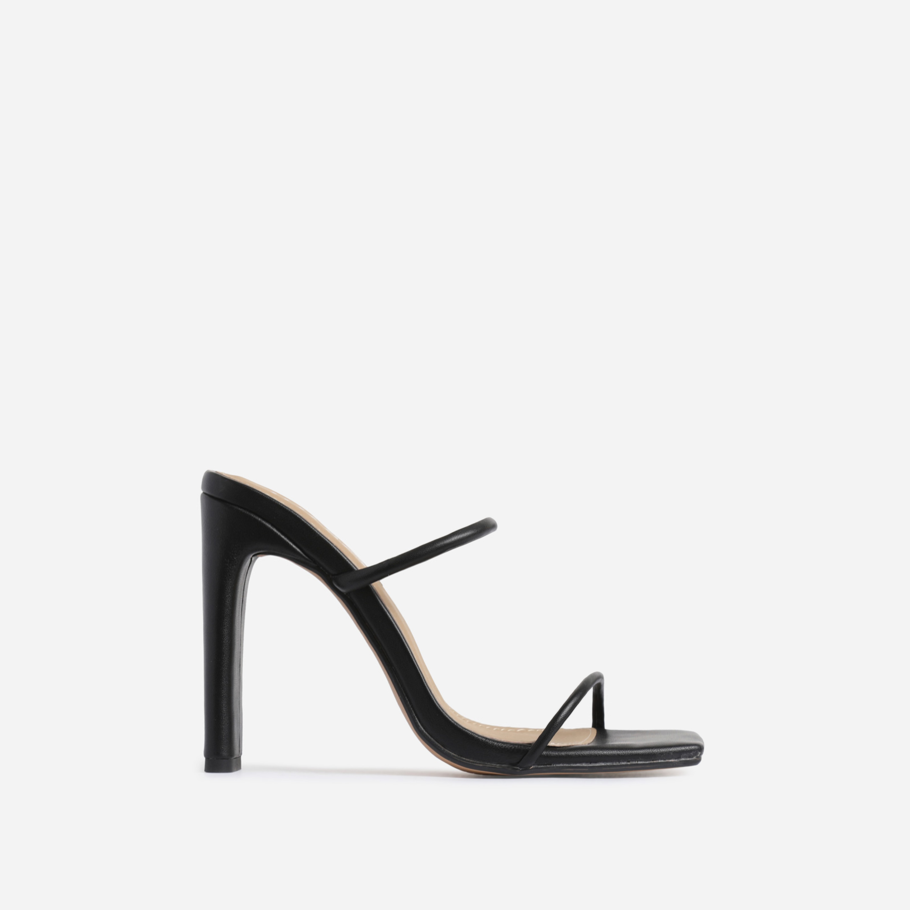 Highland Barely There Square Toe Heel Mule In Black Faux Leather