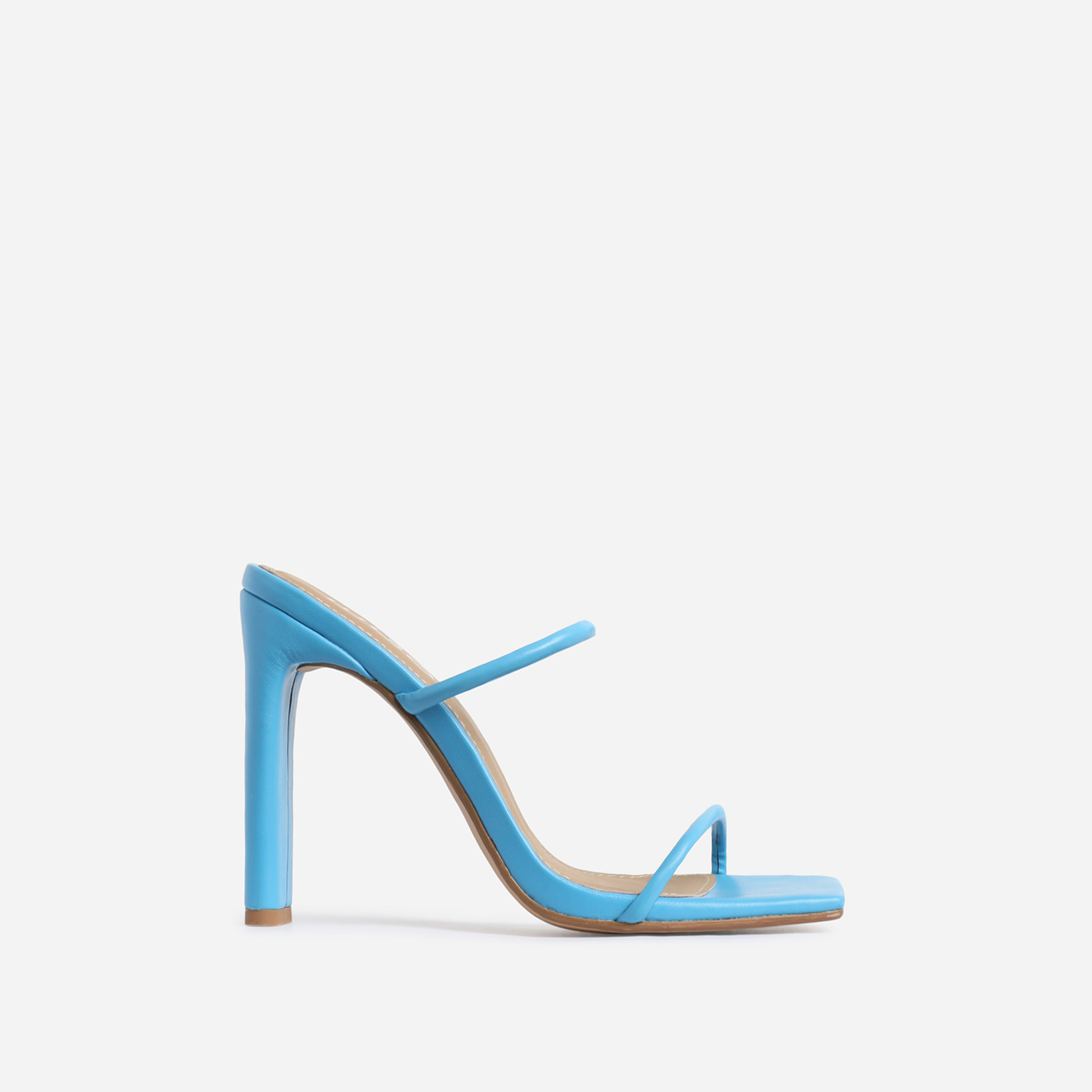 Highland Barely There Square Toe Heel Mule In Blue Faux Leather
