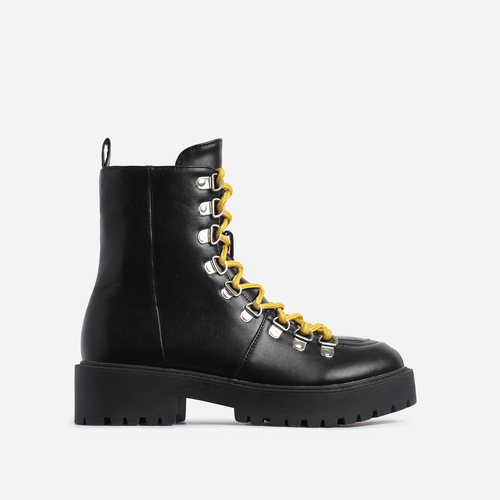 Phoenix Yellow Lace Up Ankle Biker Boot In Black Faux Leather