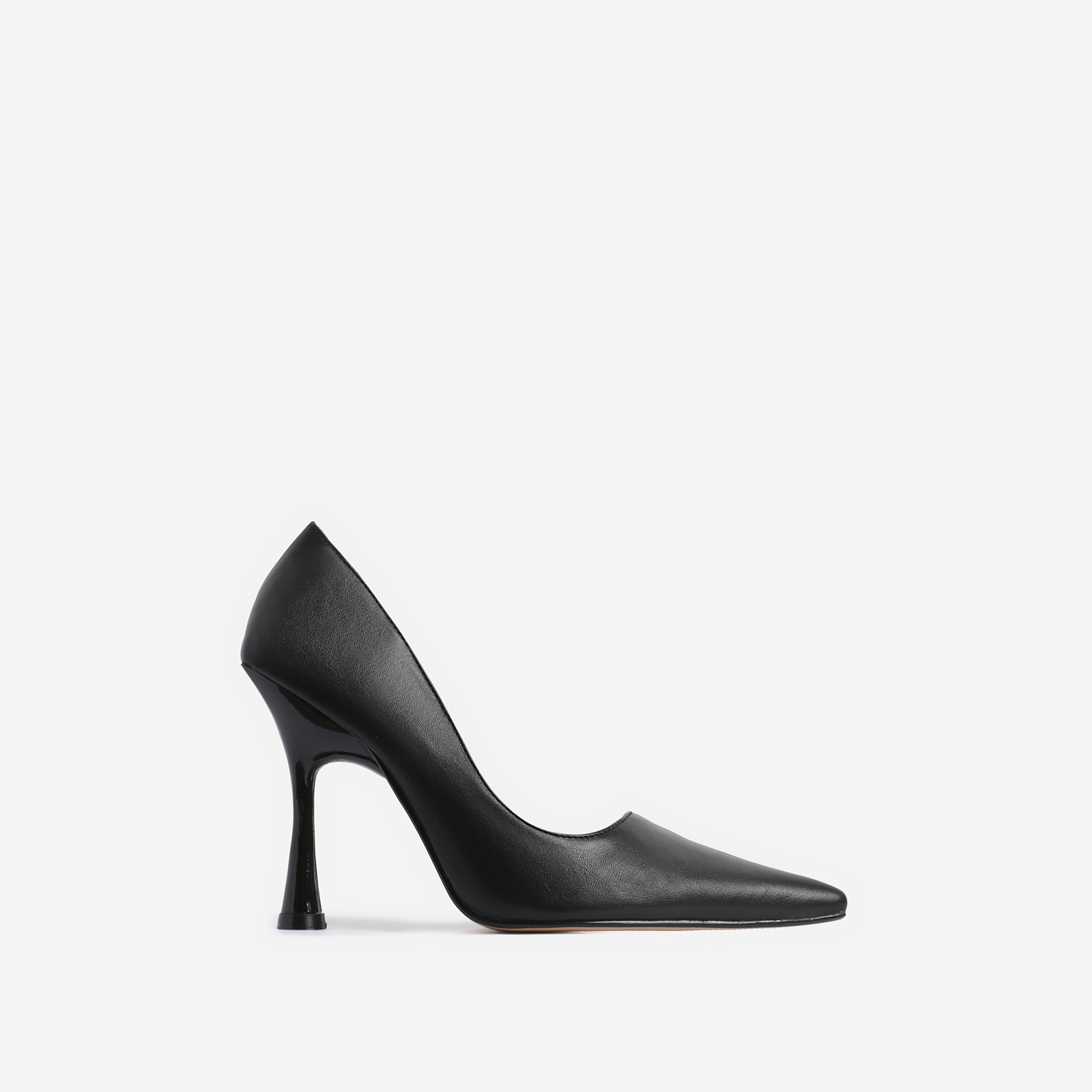 Levi Pointed Toe Court Heel In Black Faux Leather