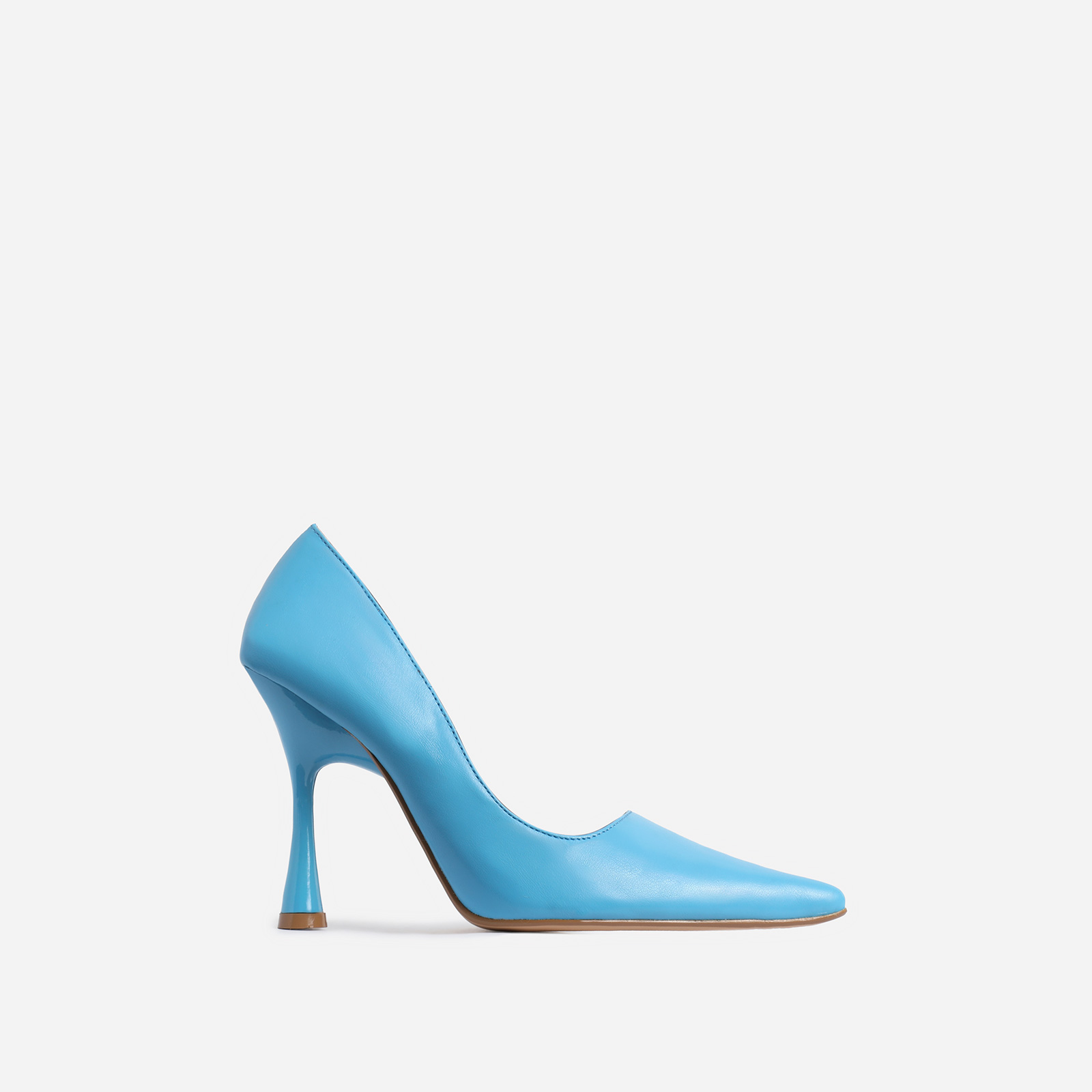 Levi Pointed Toe Court Heel In Blue Faux Leather