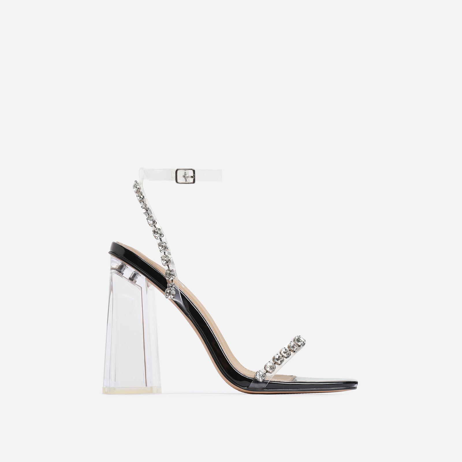 Rally Diamante Detail Flared Clear Perspex Block Heel In Black Patent