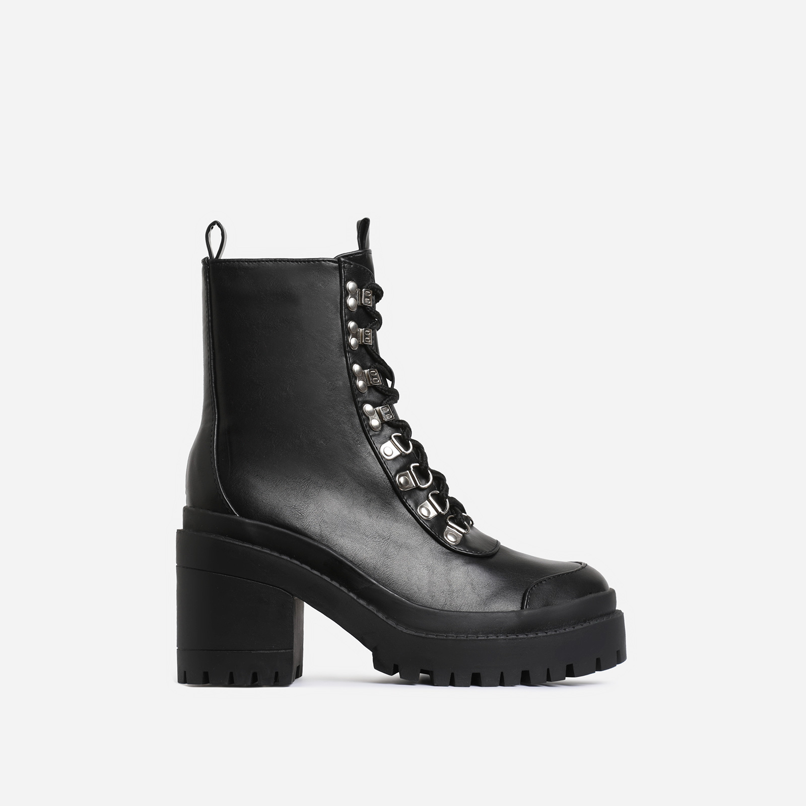 Maura Chunky Sole Lace Up Ankle Biker Boot In Black Faux Leather