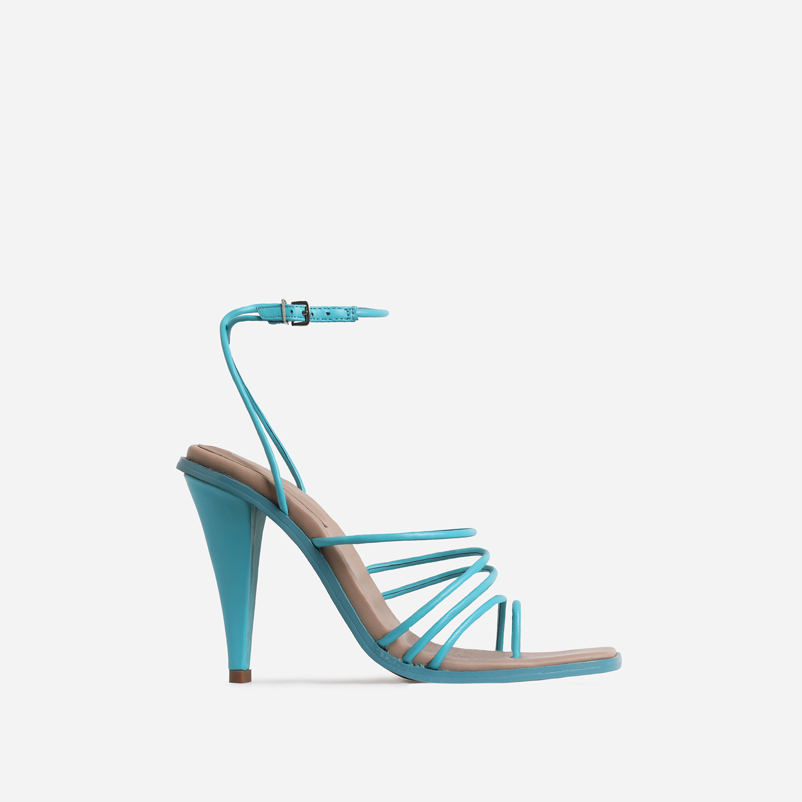 Amory Square Toe Strappy Heel In Blue Faux Leather