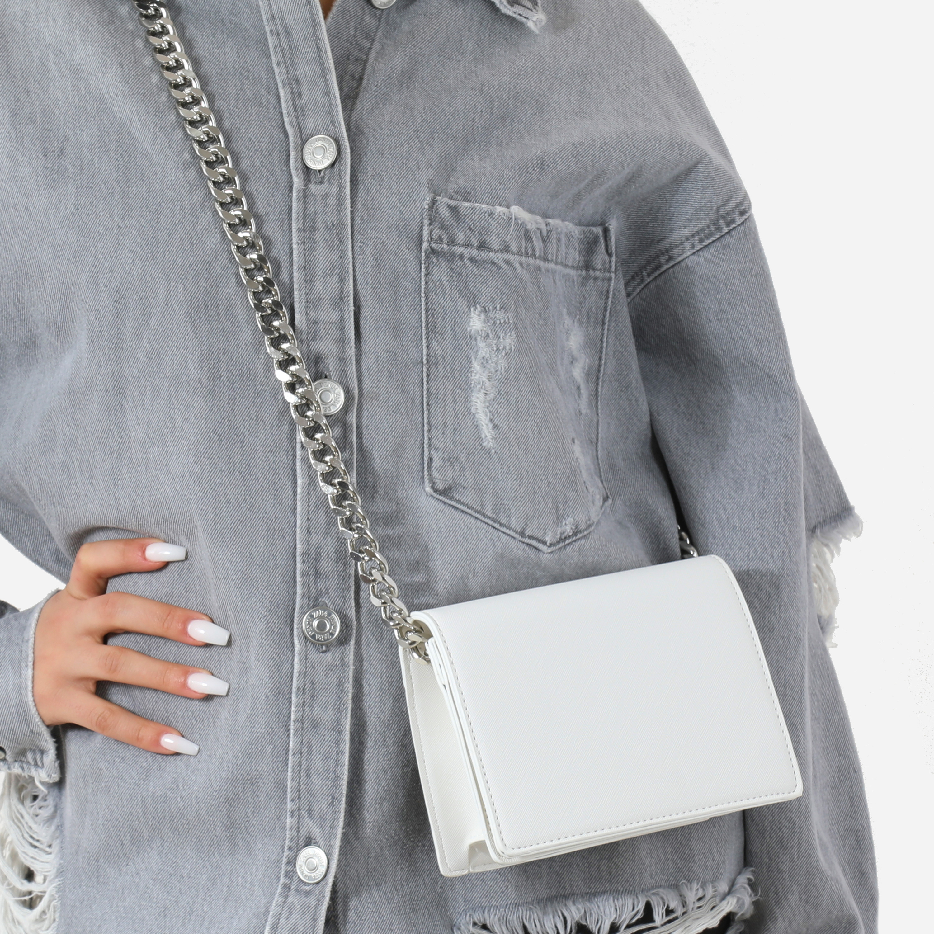 Oversized Chain Cross Body Bag In White Faux Leather