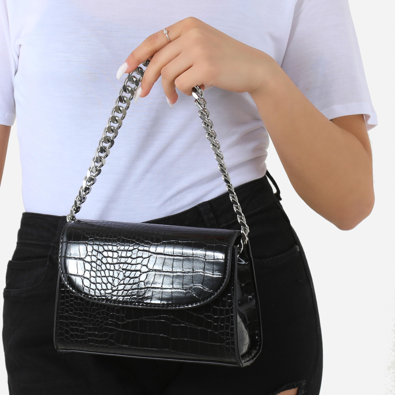 Silver Chain Detail Boxy Handbag In Black Croc Faux Leather
