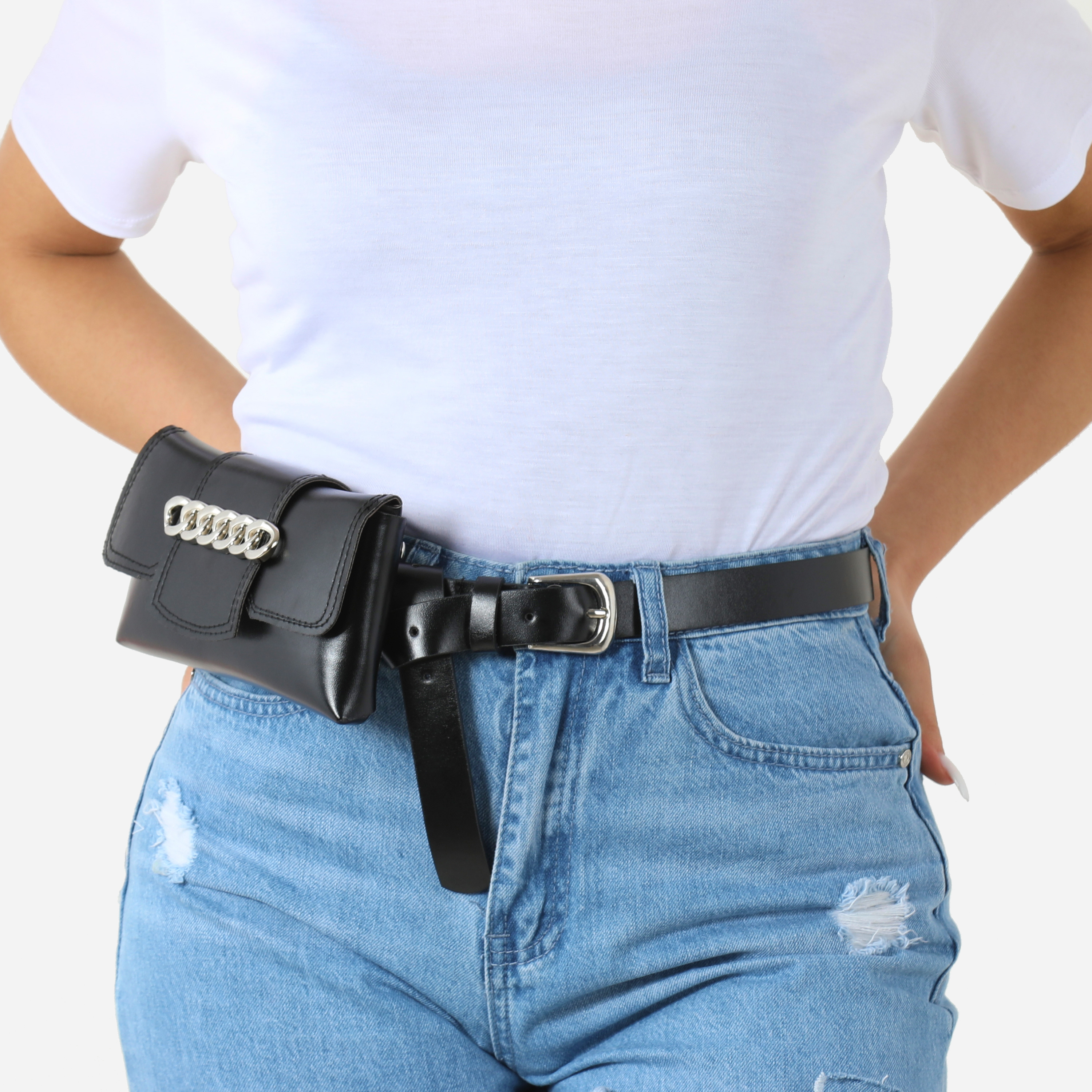 Chain Detail Belt Bag In Black Faux Leather
