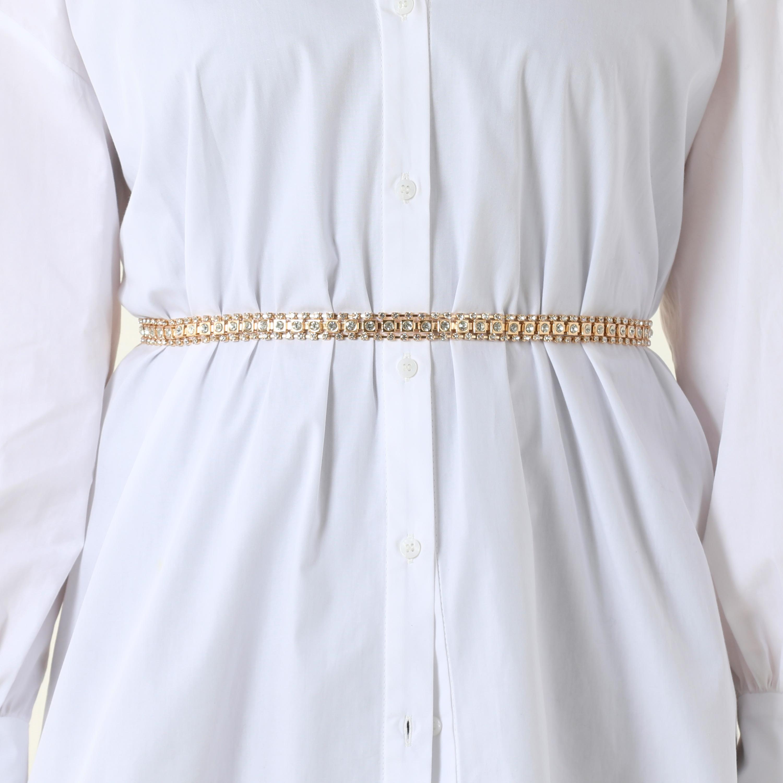 Diamante Chain Belt In Gold