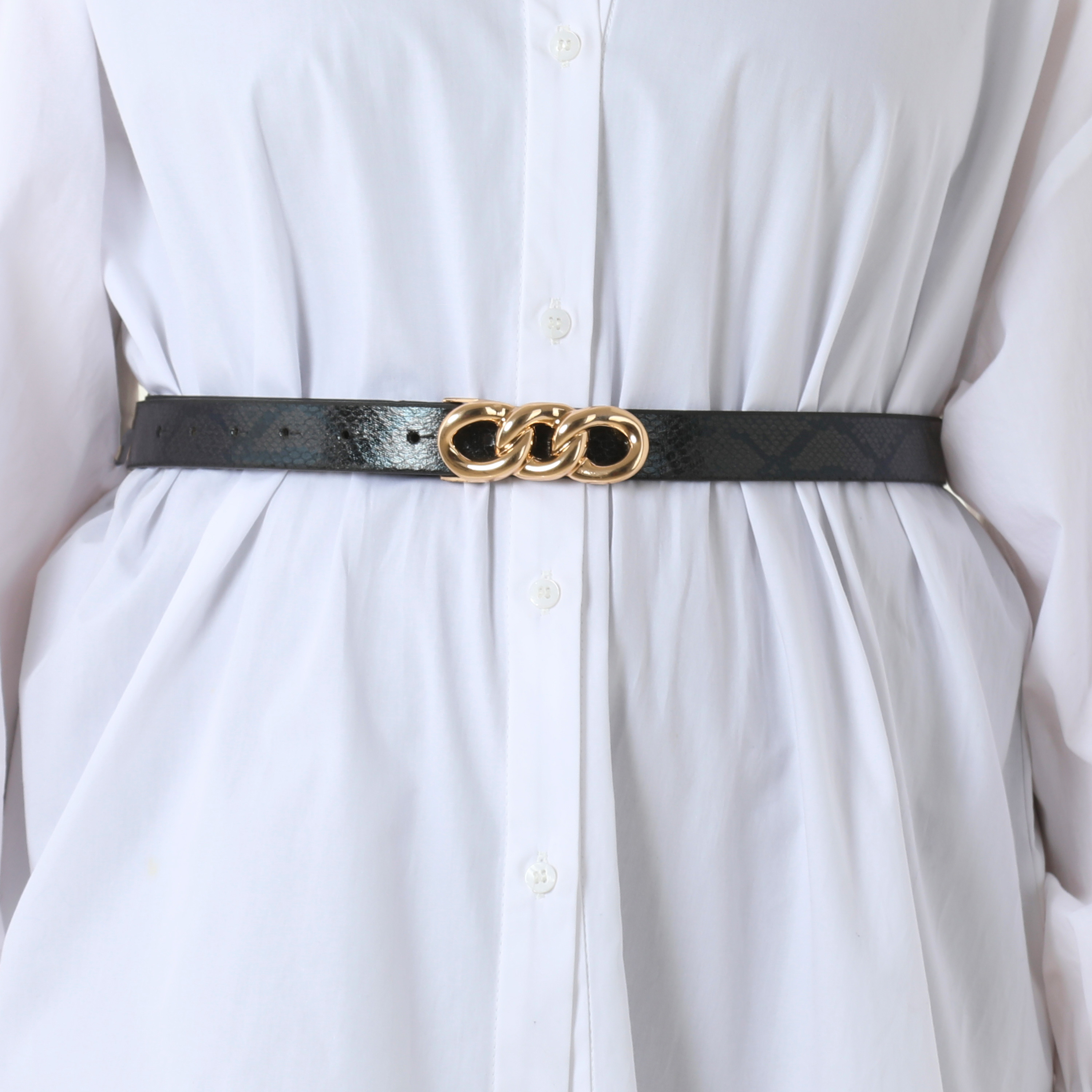 Gold Chain Detail Belt In Black Snake Print Faux Leather