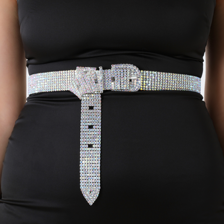 Diamante Detail Buckle Belt In Silver