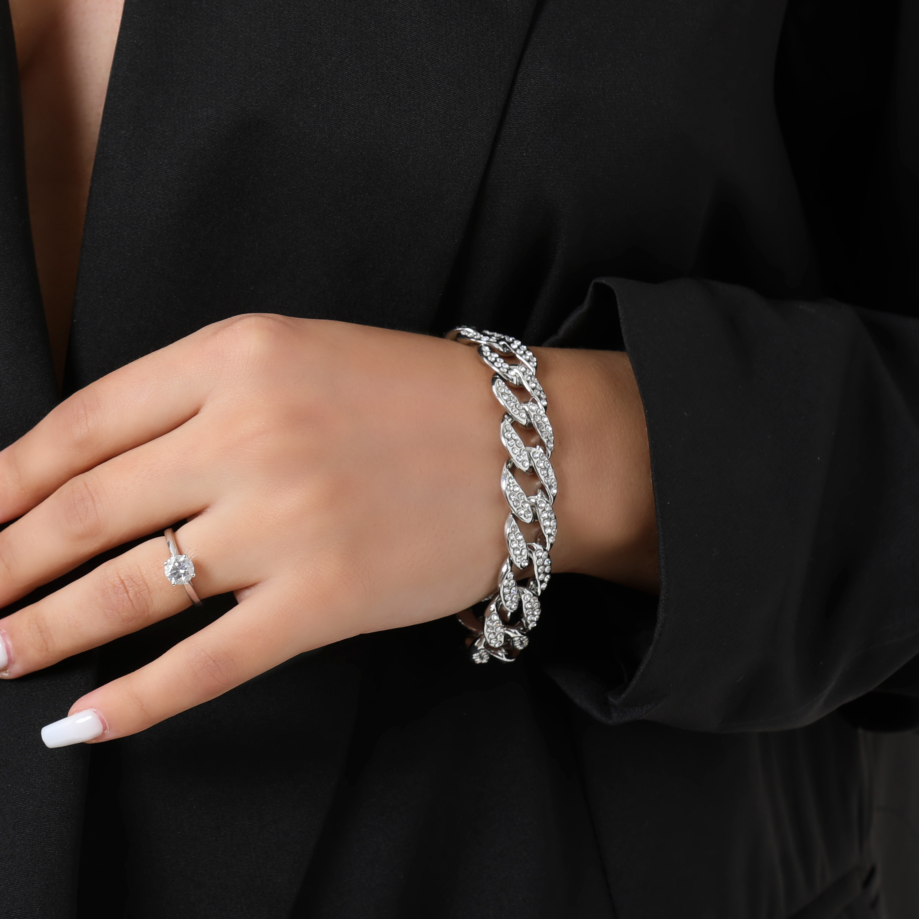 Diamante Detail Oversized Chain Bracelet In Silver