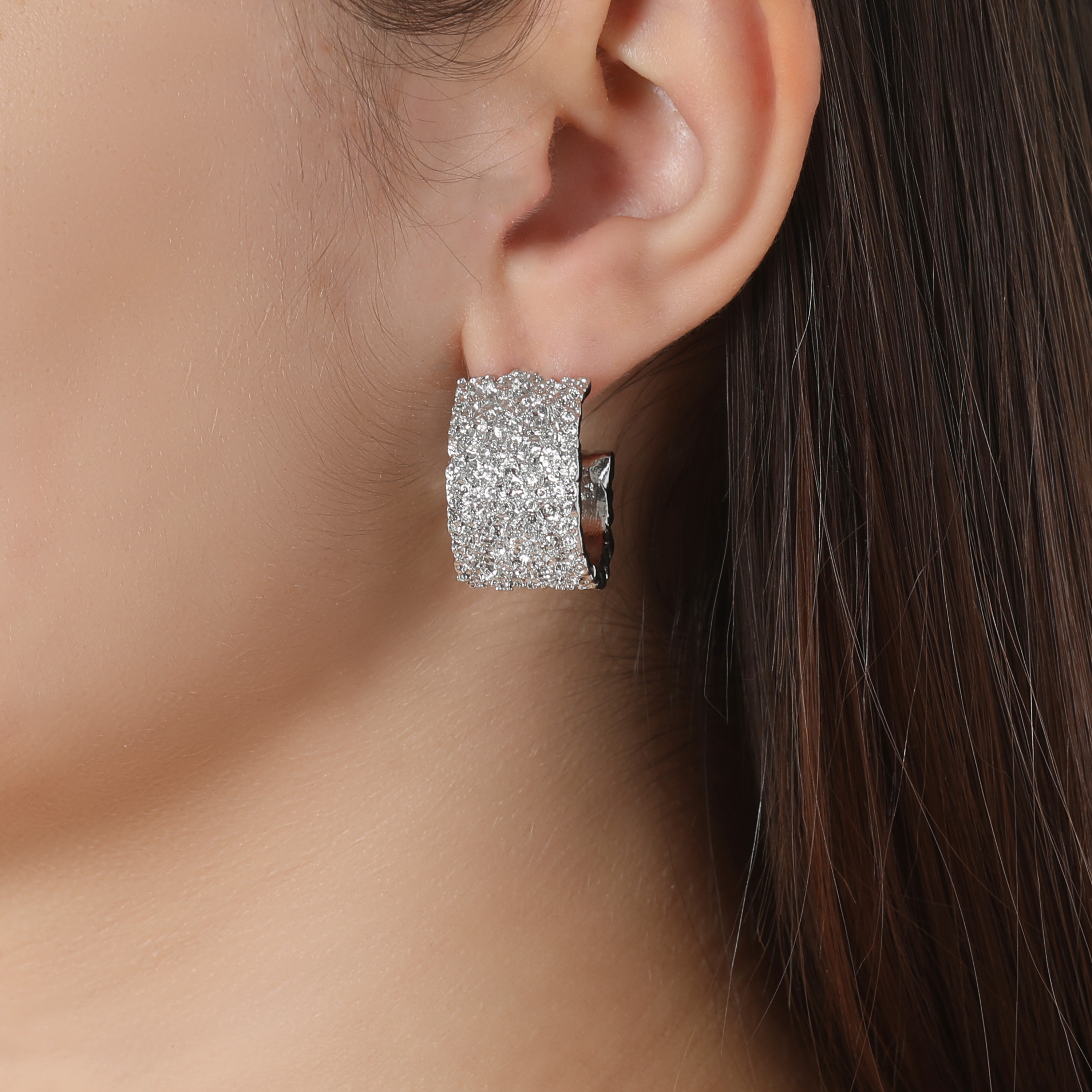 Textured Chunky Hoop Earrings In Silver
