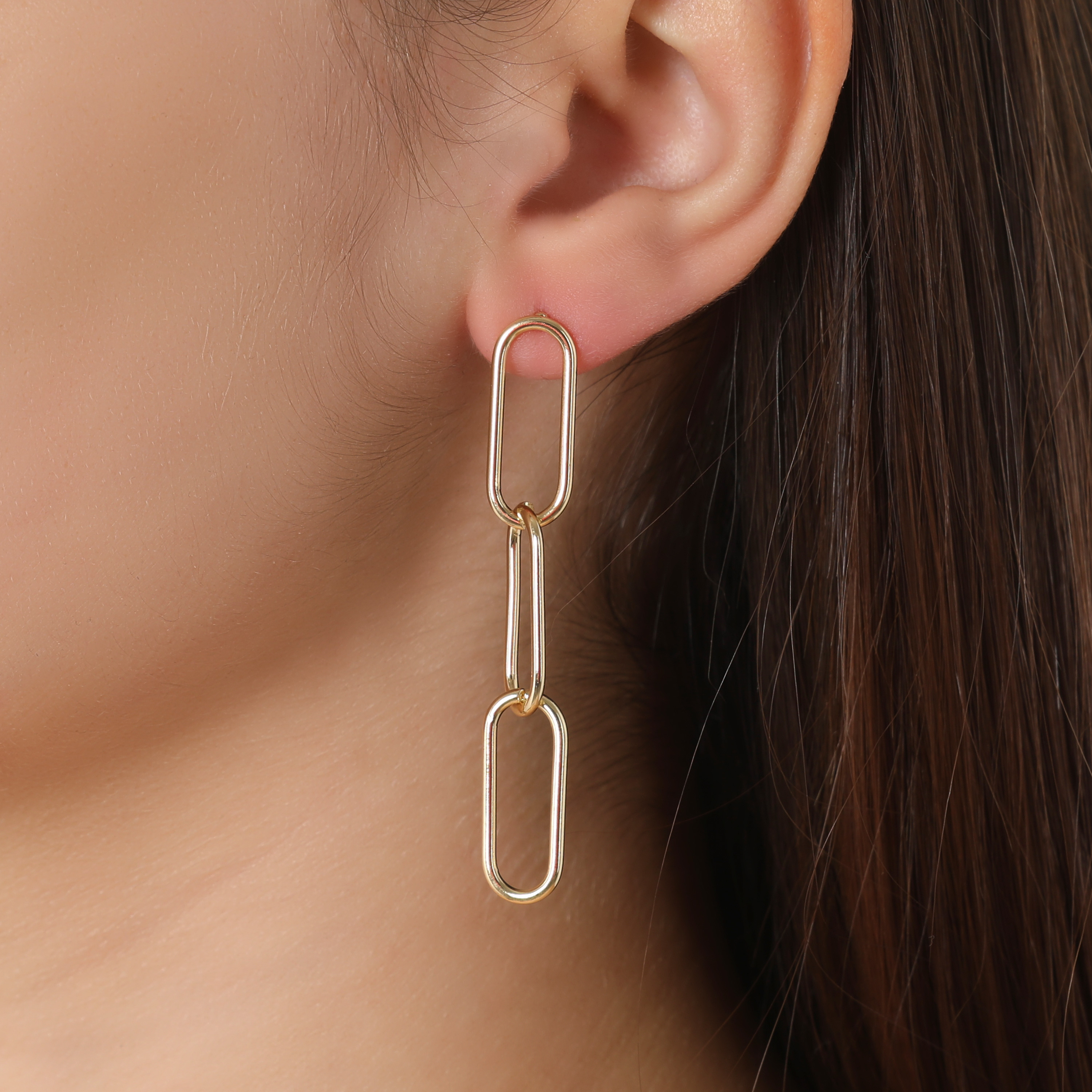 Drop Chain Earrings In Gold