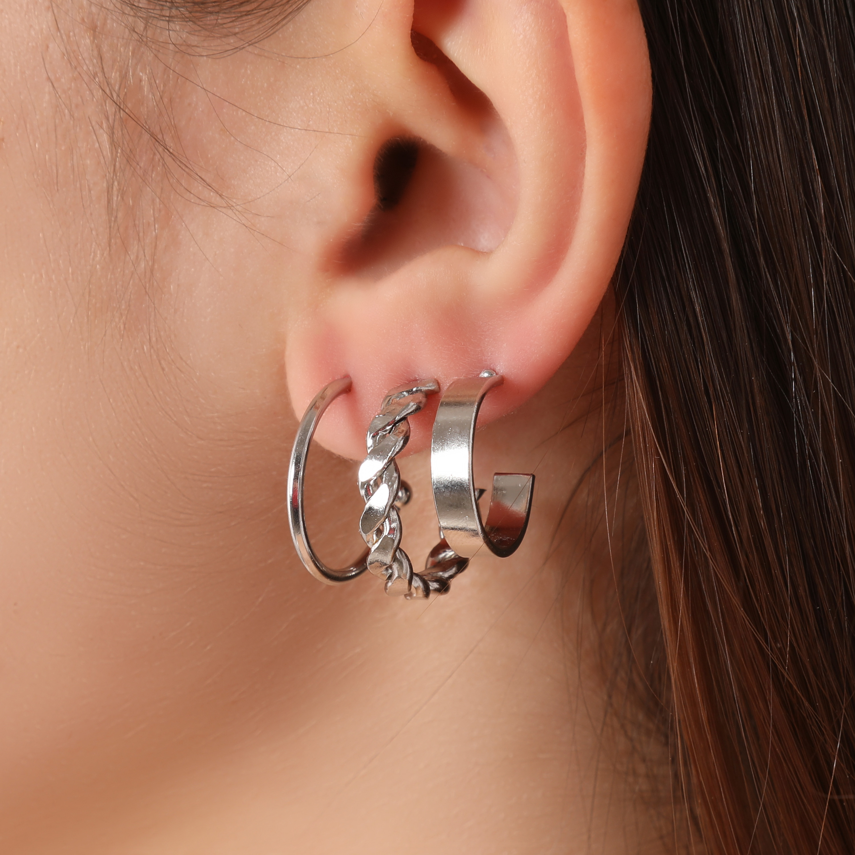 Multi Pack Hoop Earrings In Silver