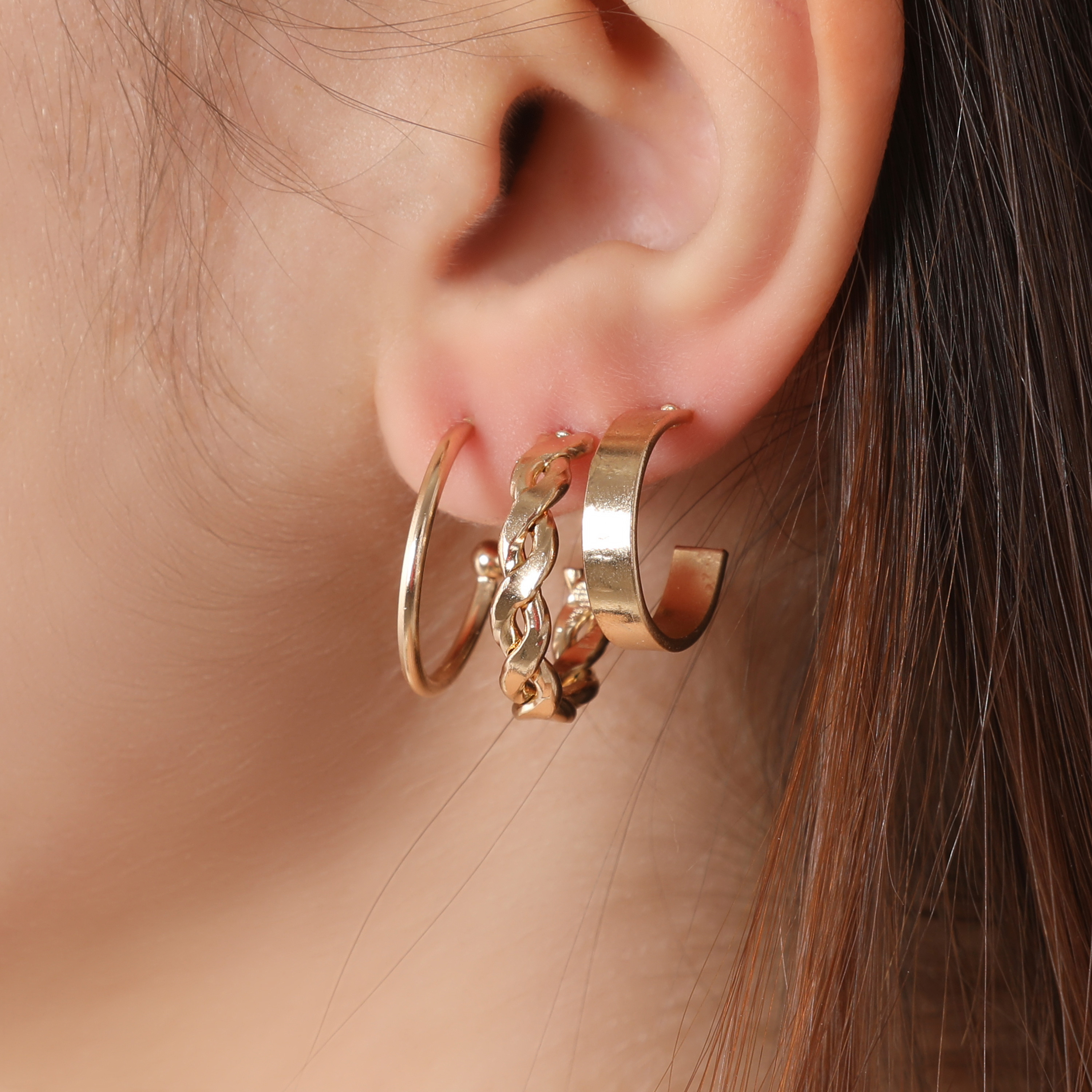 Multi Pack Hoop Earrings In Gold