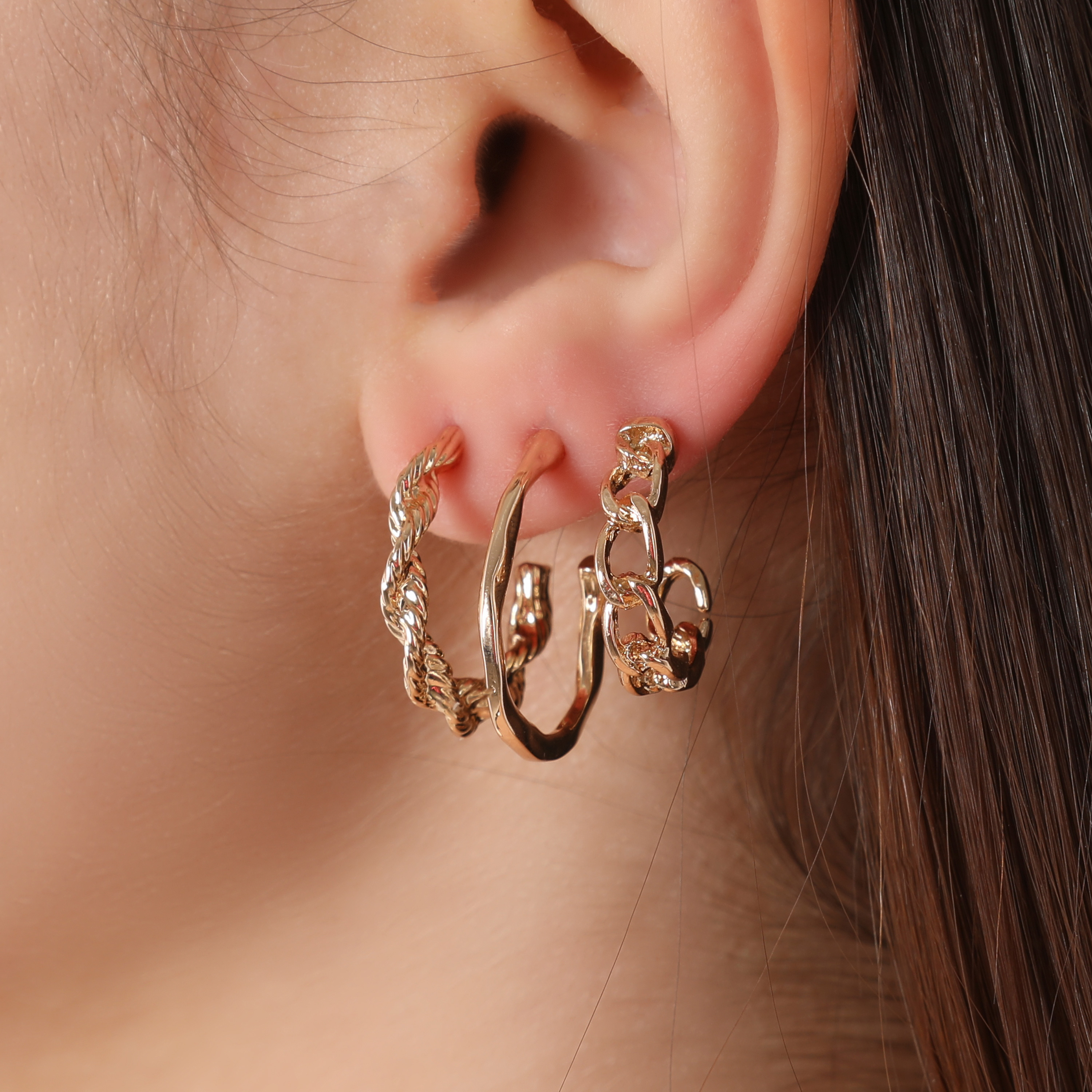 Multi Pack Twisted Hoop Earrings In Gold