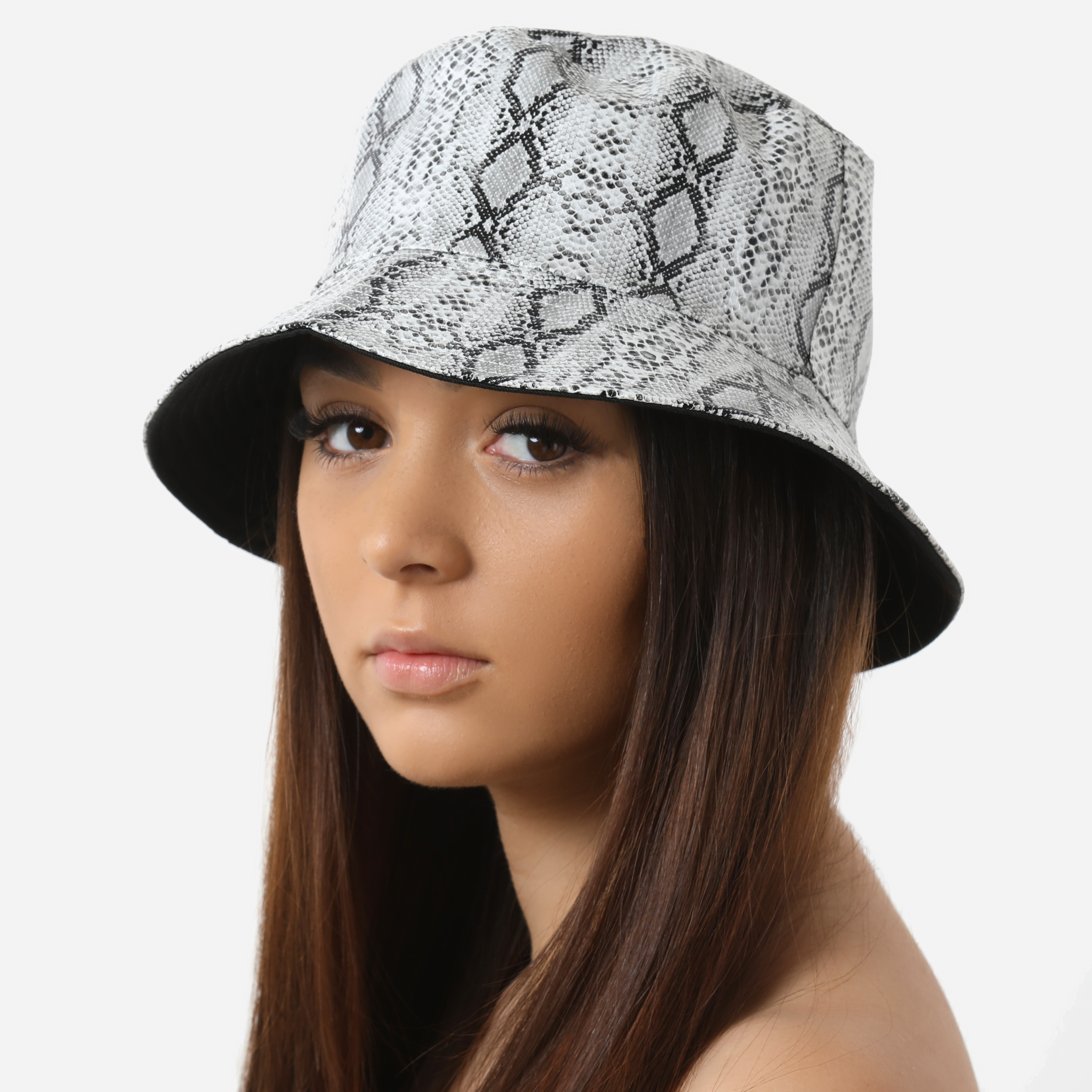 Bucket Hat In Grey Snake Print Faux Leather