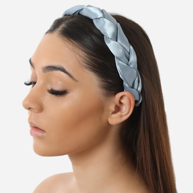 Braided Oversized Headband In Grey Satin