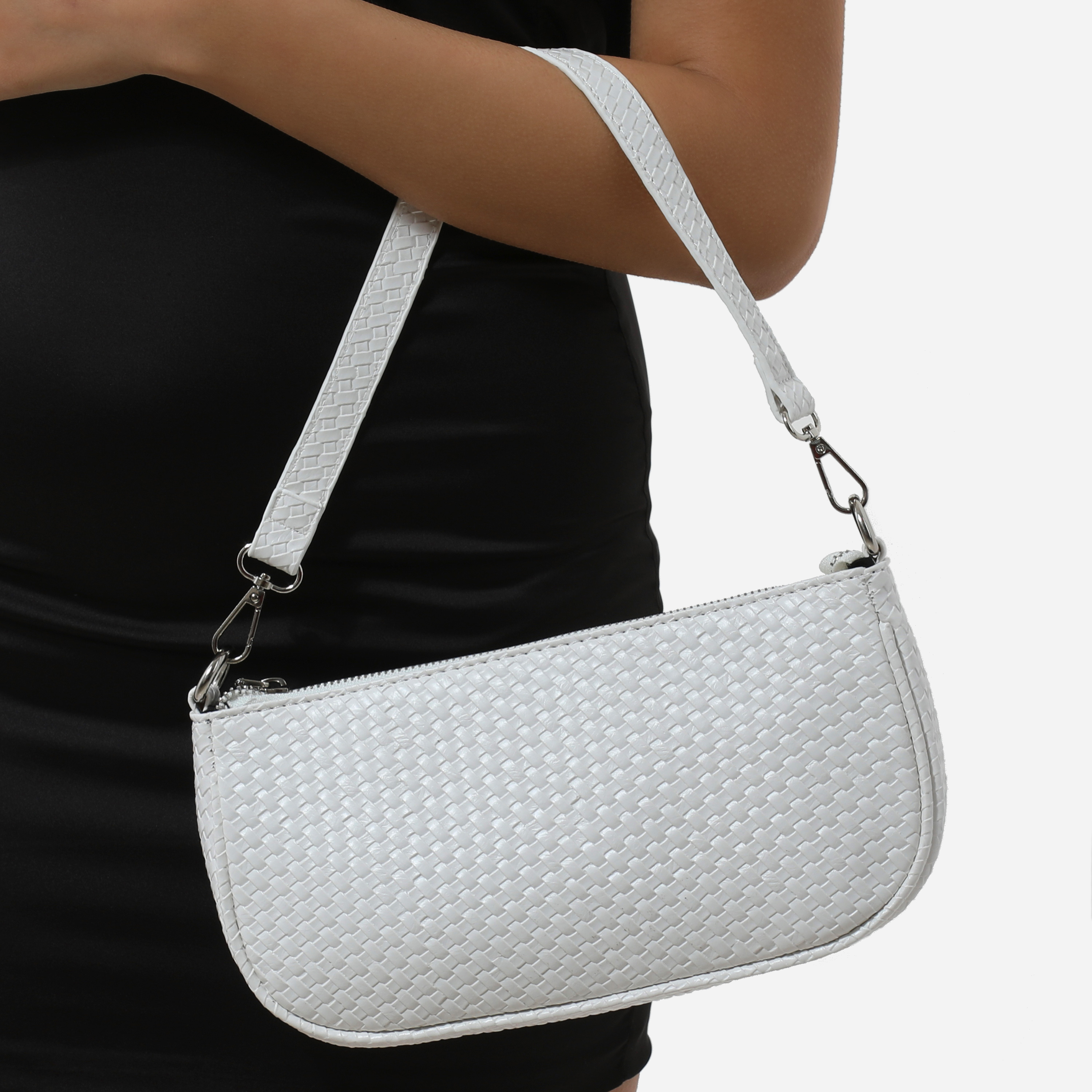 Woven Baguette Shoulder Bag In White Faux Leather