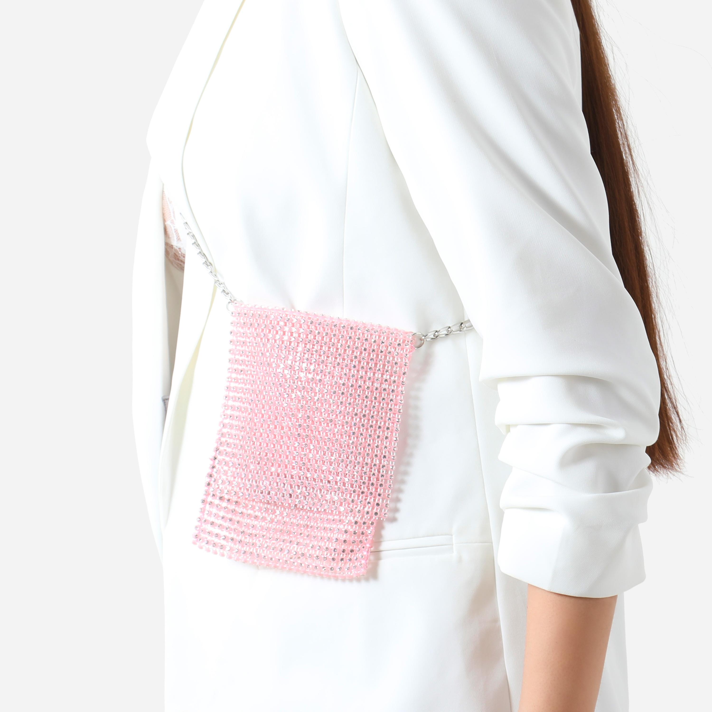 Cross Body Mini Bag In Pink Diamante