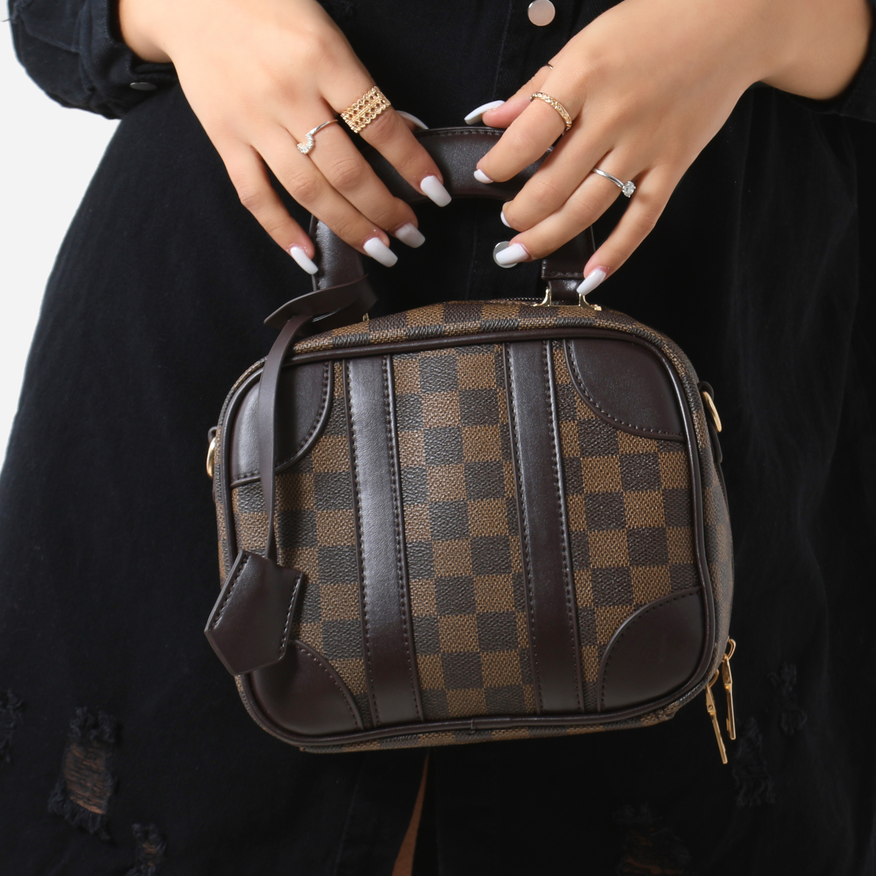 Single Handle Checked Handbag In Brown Faux Leather