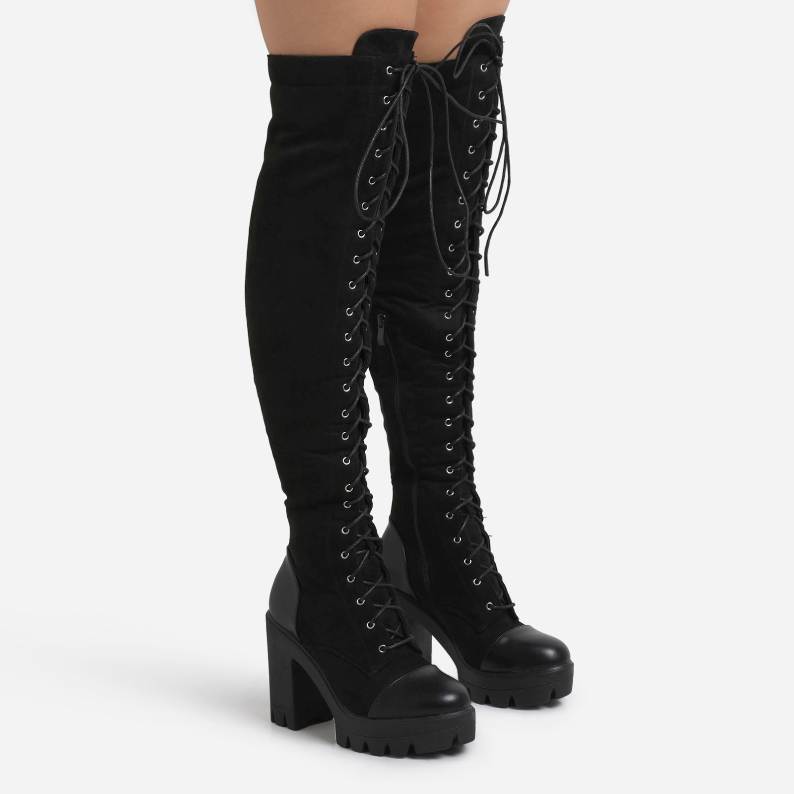 Blogger Chunky Sole Lace Up Over The Knee Thigh High Long Boot In Black Faux Suede