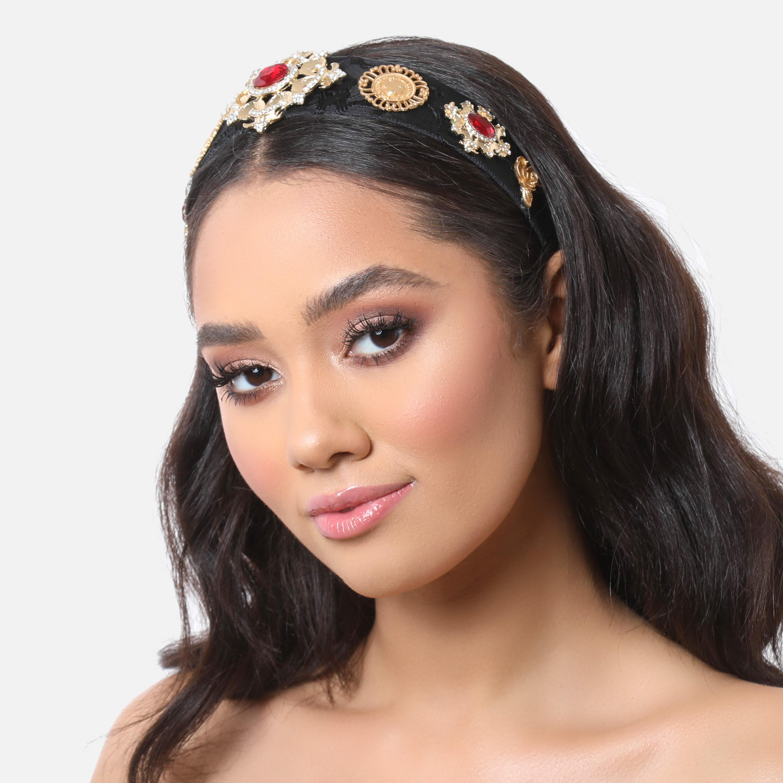 Large Gemstone Embellished Headband In Black Velvet